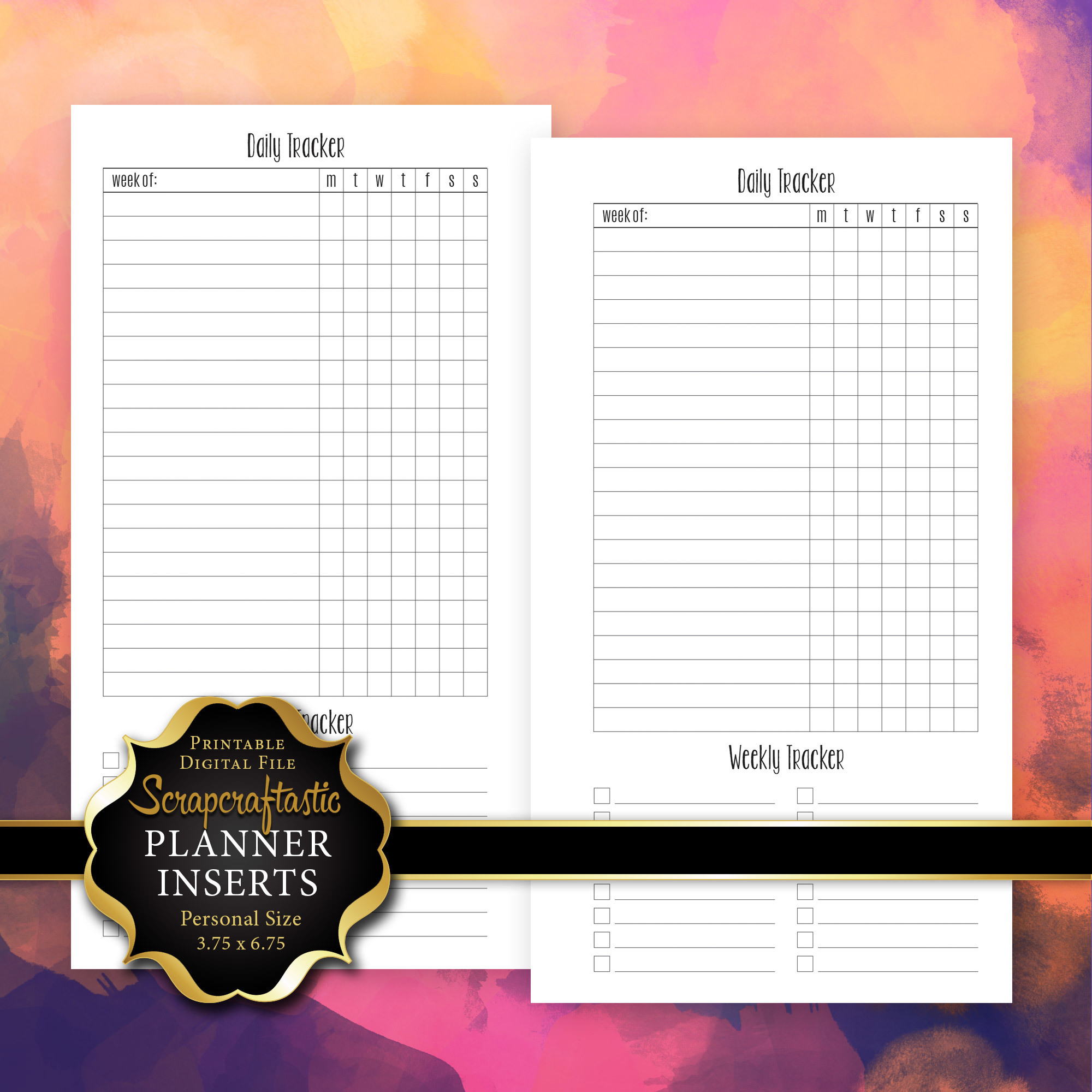 Daily Habit/Task Tracker Planner Printable Insert Refill Personal Size - Filofax, Kikki K, ColorCrush 00210