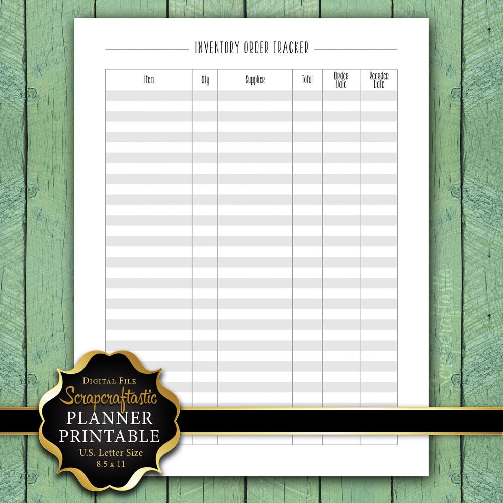 Inventory Order Tracker Letter Size Planner Printable