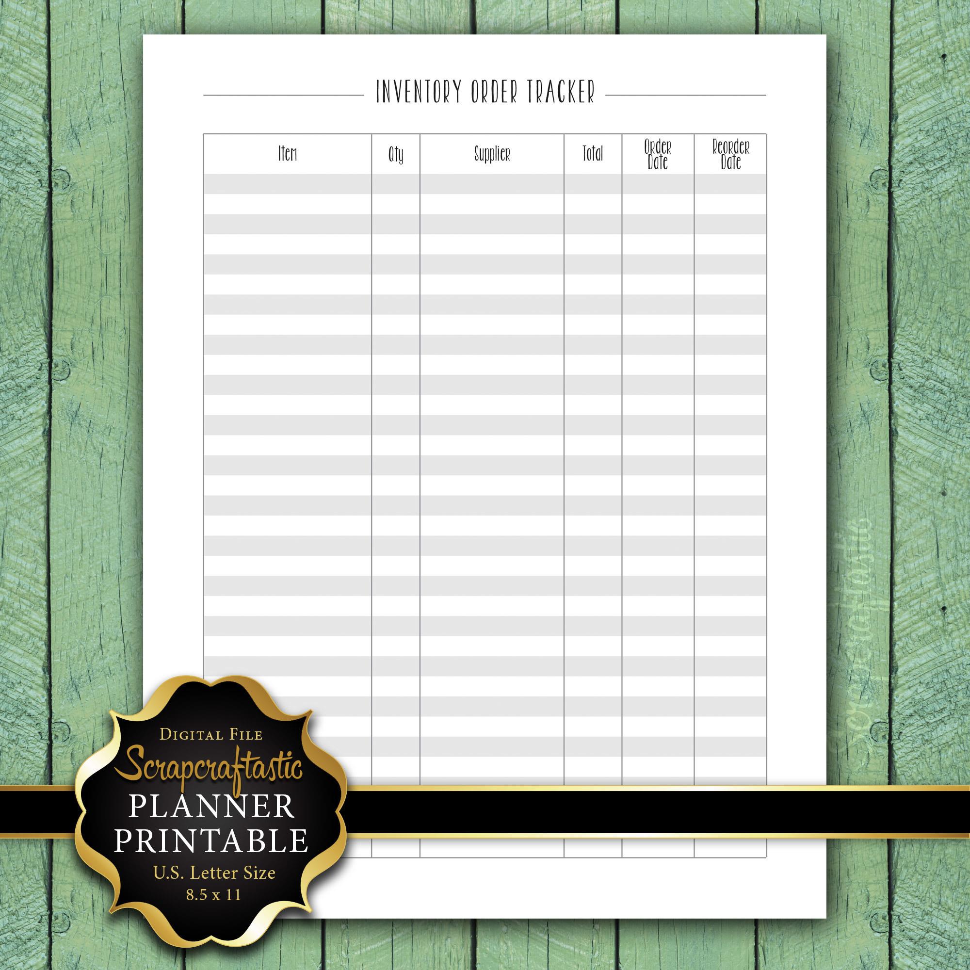 Inventory Order Tracker Letter Size Planner Printable dbr_ltr_inventoryordertracker