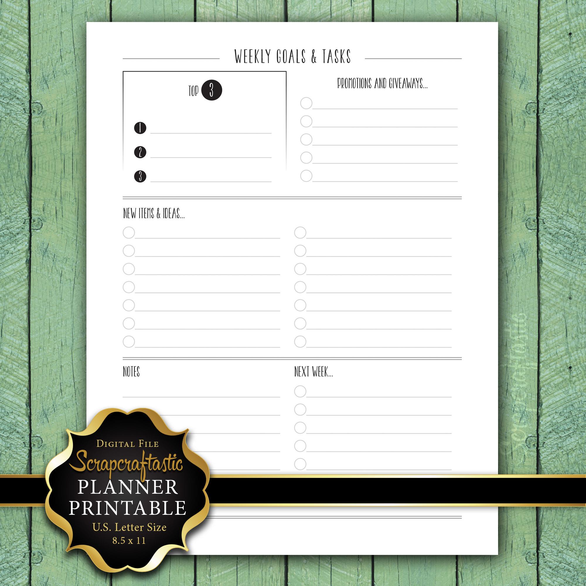 Weekly Goals & Tasks Letter Size Planner Printable Insert dbr_ltr_weeklyshopgoals