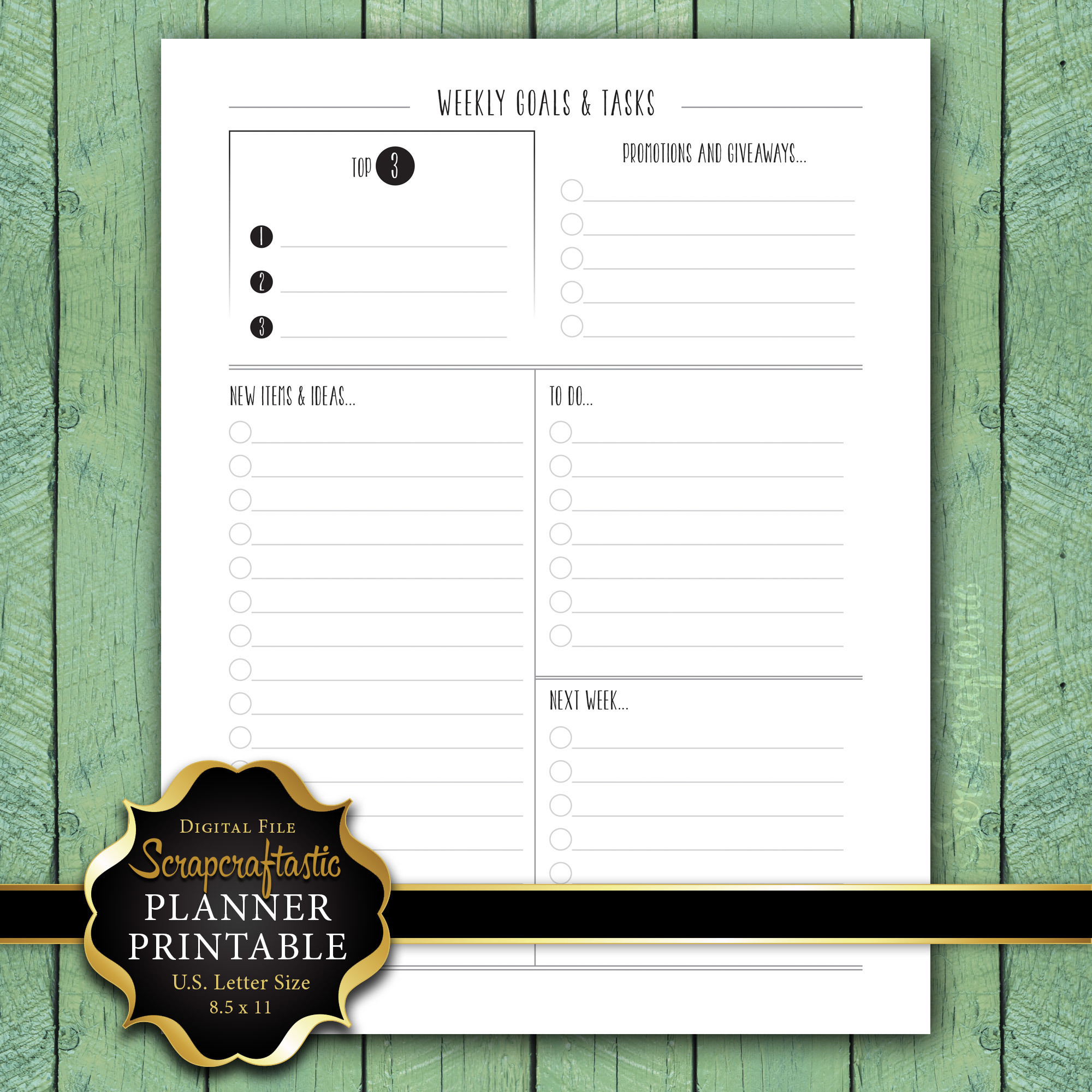 Weekly Goals, Tasks & To Do Letter Size Planner Printable dbr_ltr_weeklyshopgoals_todo