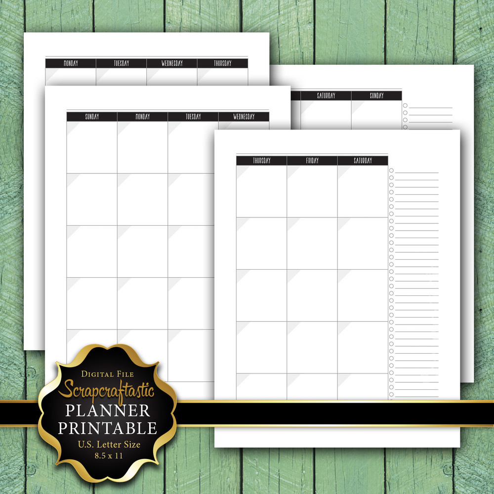 Undated Month on 2 Pages (MO2P) Letter Size Planner Printable