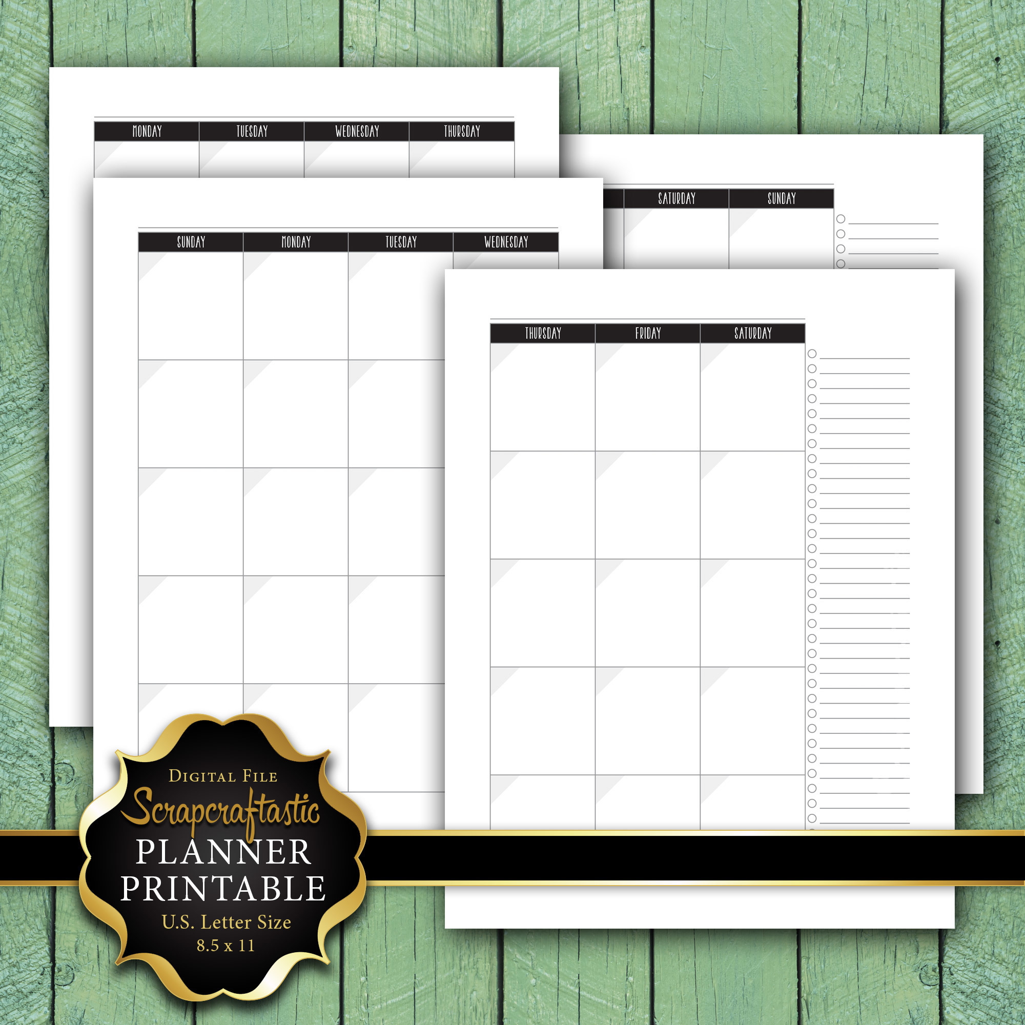 Undated Month on 2 Pages (MO2P) Letter Size Planner Printable dbr_ltr_mo2p