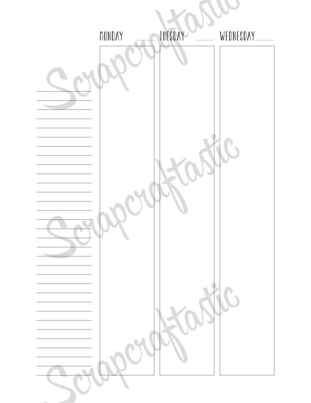 Undated Week on Two Pages (WO2P) Vertical Columns Letter Planner Printable