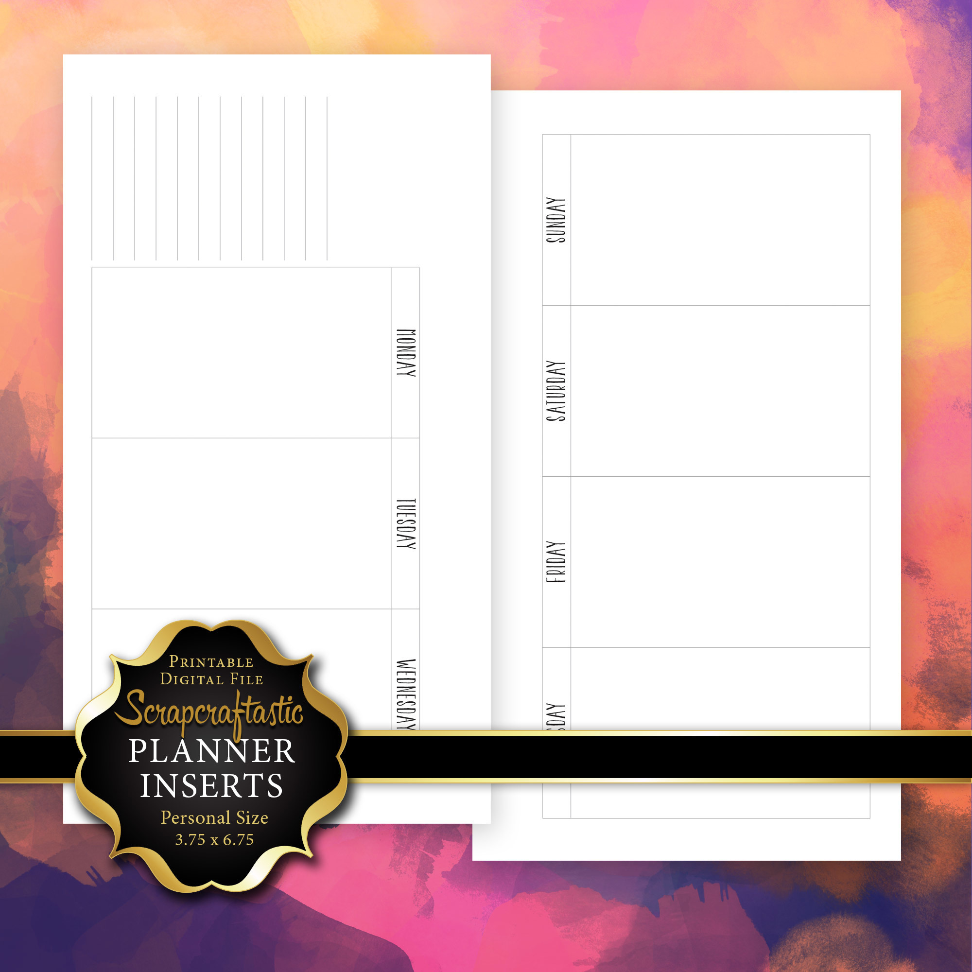 Full Horizontal WO2P Planner Printable Insert Refill Personal Size - Filofax, Kikki K, ColorCrush 00209