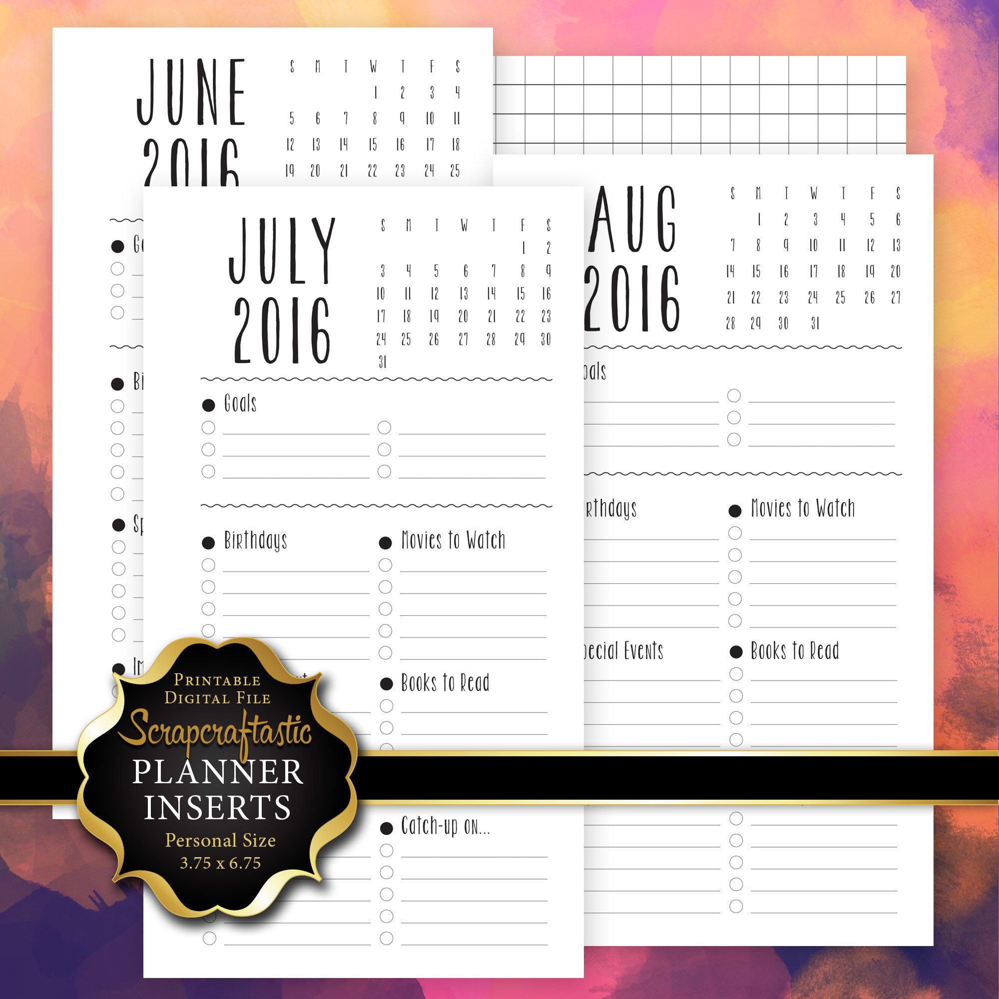 June - December 2016 Monthly Dashboard Personal Printable Planner Insert dbr_dashboard6-12_2016