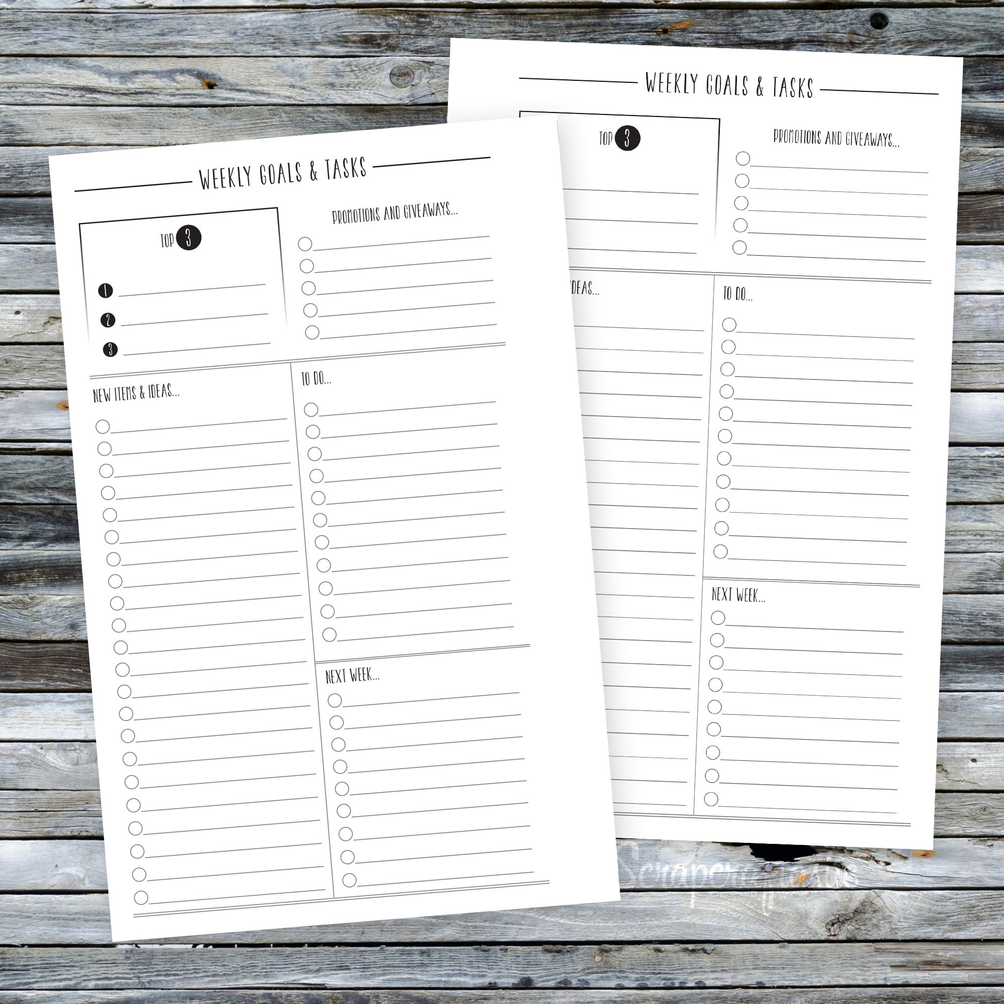Half Page Weekly Goals, Tasks & To Do Printable Planner Inserts dbr_half_weeklyshopgoals_todo