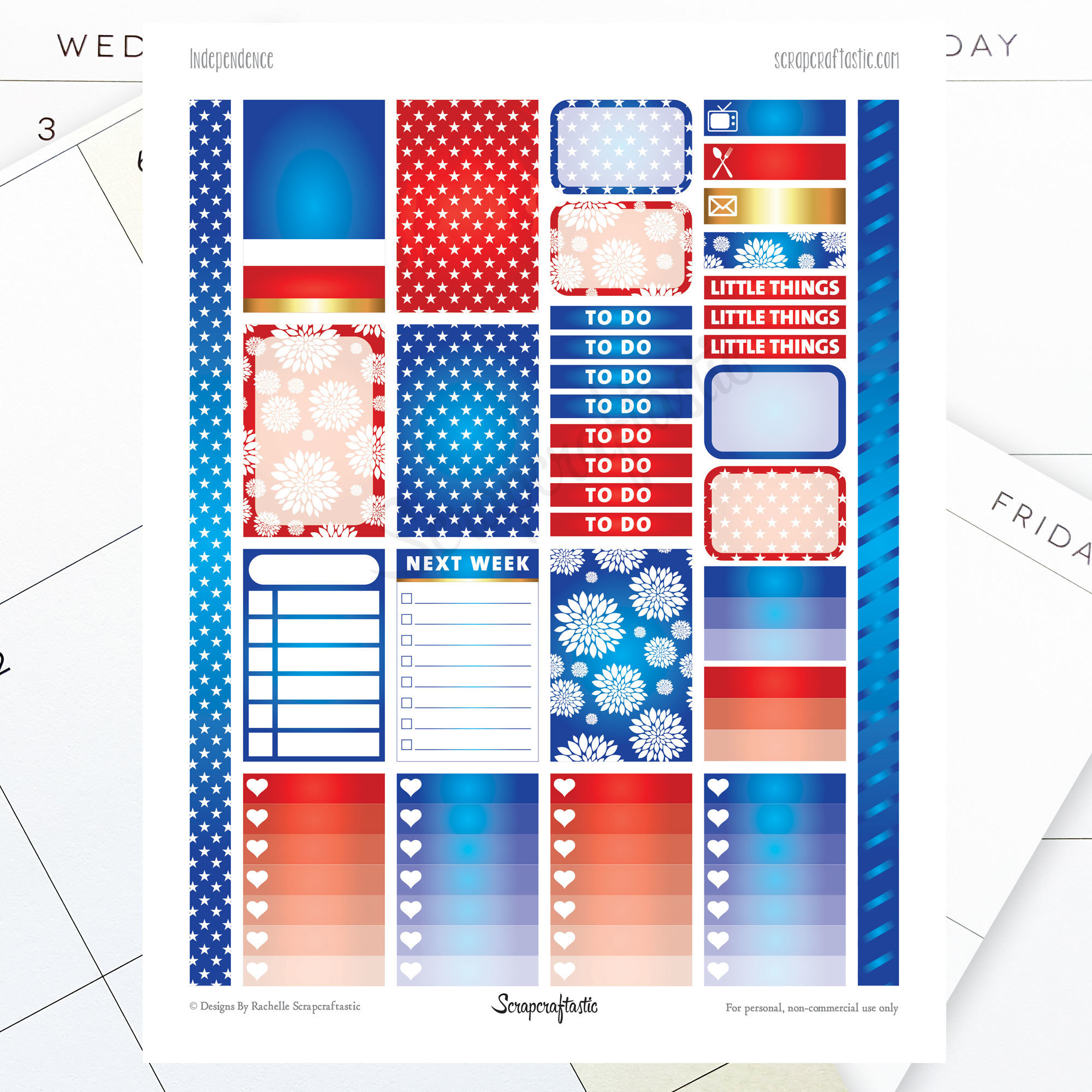 Independence Printable Planner Stickers for the Classic MAMBI Happy Planner dbr-0161HP