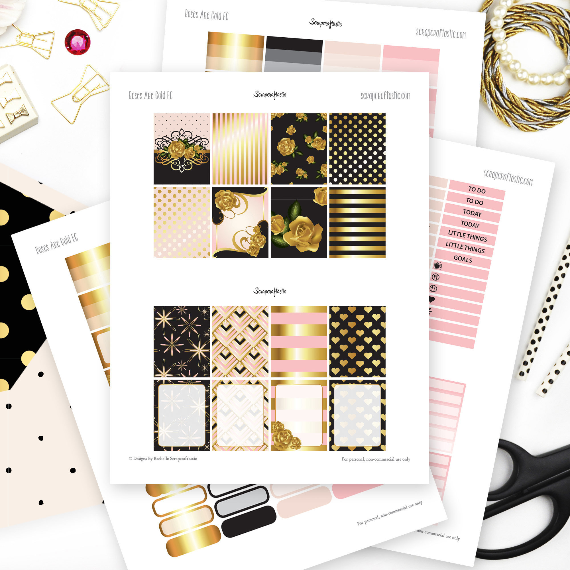 Roses are Gold Printable Planner Stickers dbr_rosesaregold