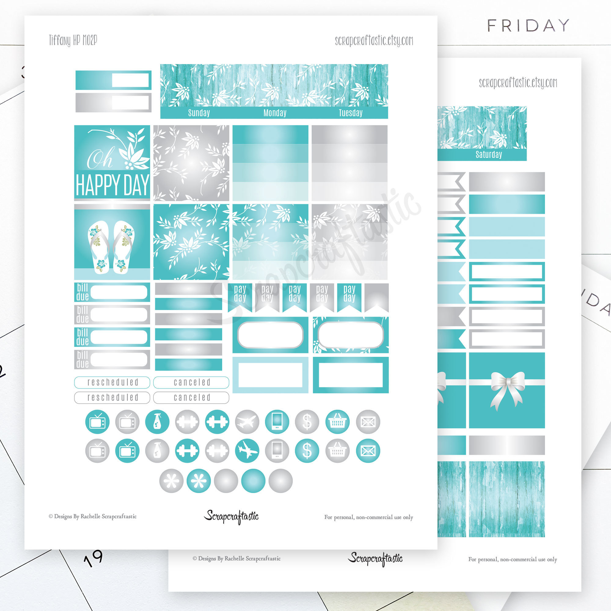 Tiffany Month View Printable Planner Stickers for the Standard MAMBI Happy Planner dbr_monthlyviewkit_tiffany