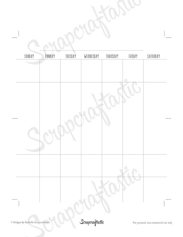 Undated Peronal Size Horizontal Month on Two Pages (MO2P) Printable Planner Insert