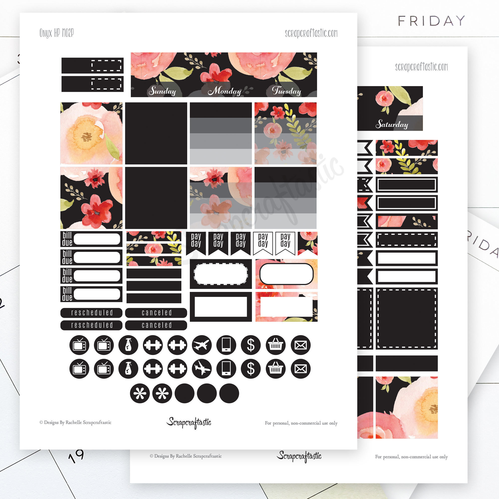 Onyx Month View Printable Planner Stickers for  Standard MAMBI Happy Planner dbr_monthlyviewkit_blackout