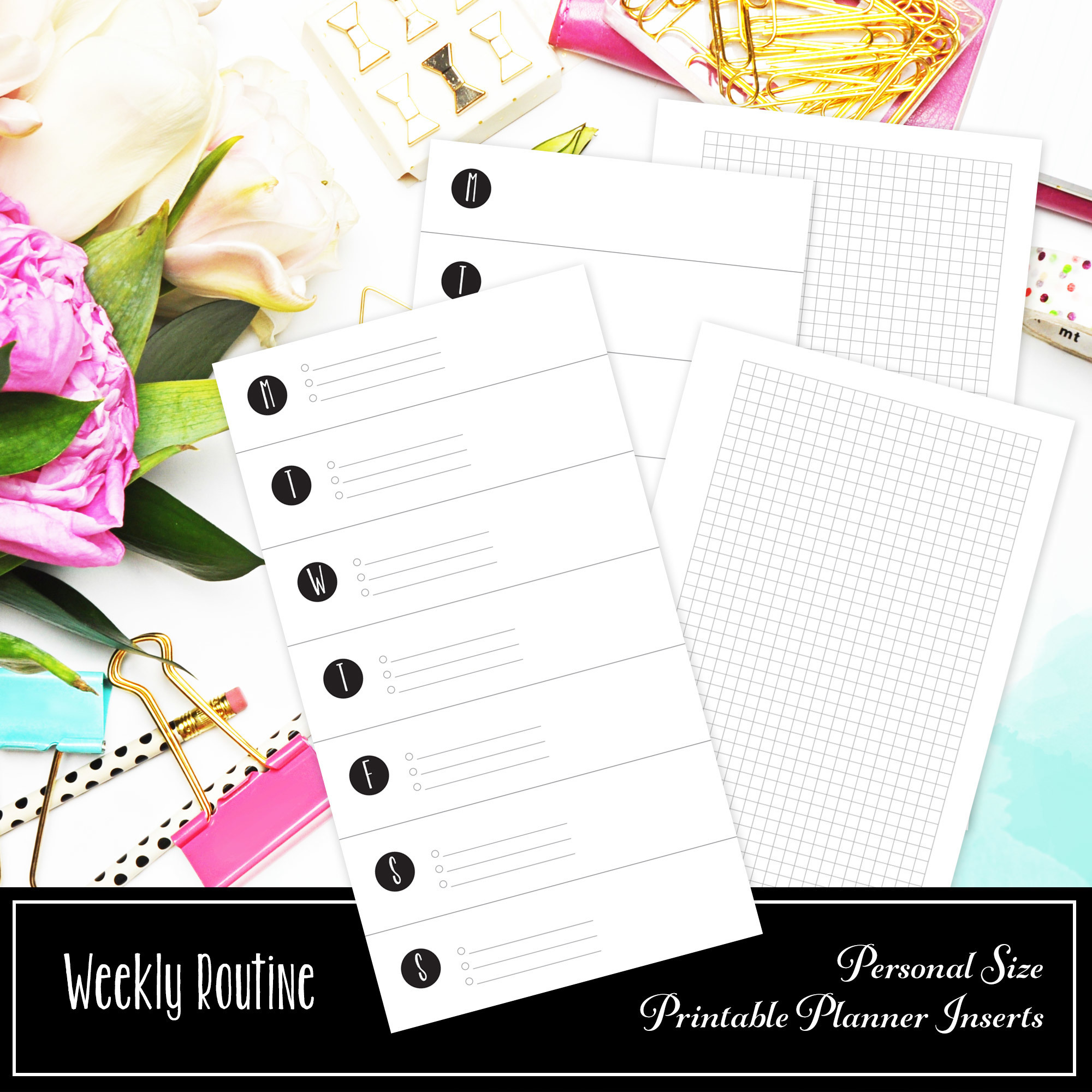 Weekly Routine With Small Grid Personal Printable Insert 00205