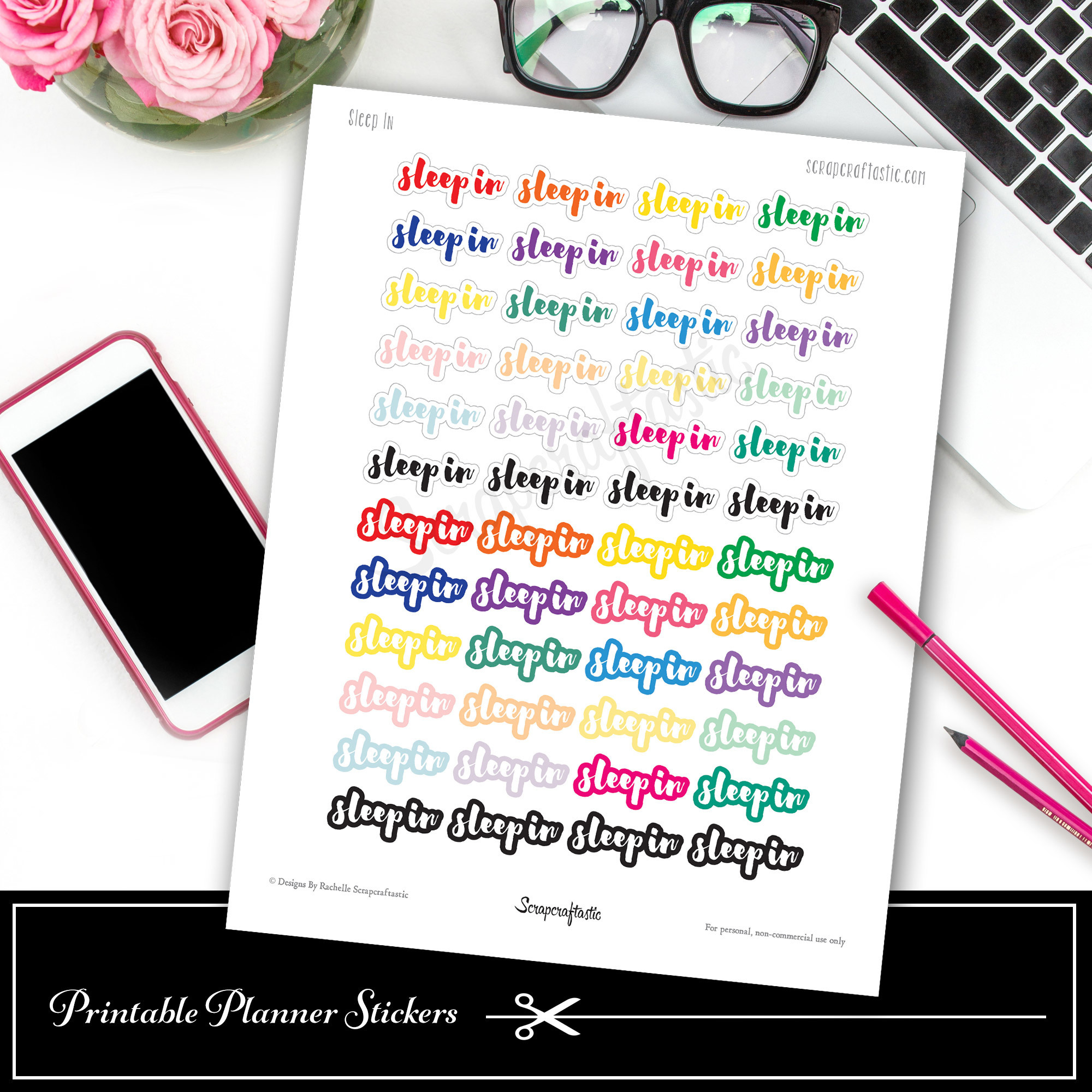 Sleep In (SayIt) Printable Planner Stickers dbr_sleepin_sayit