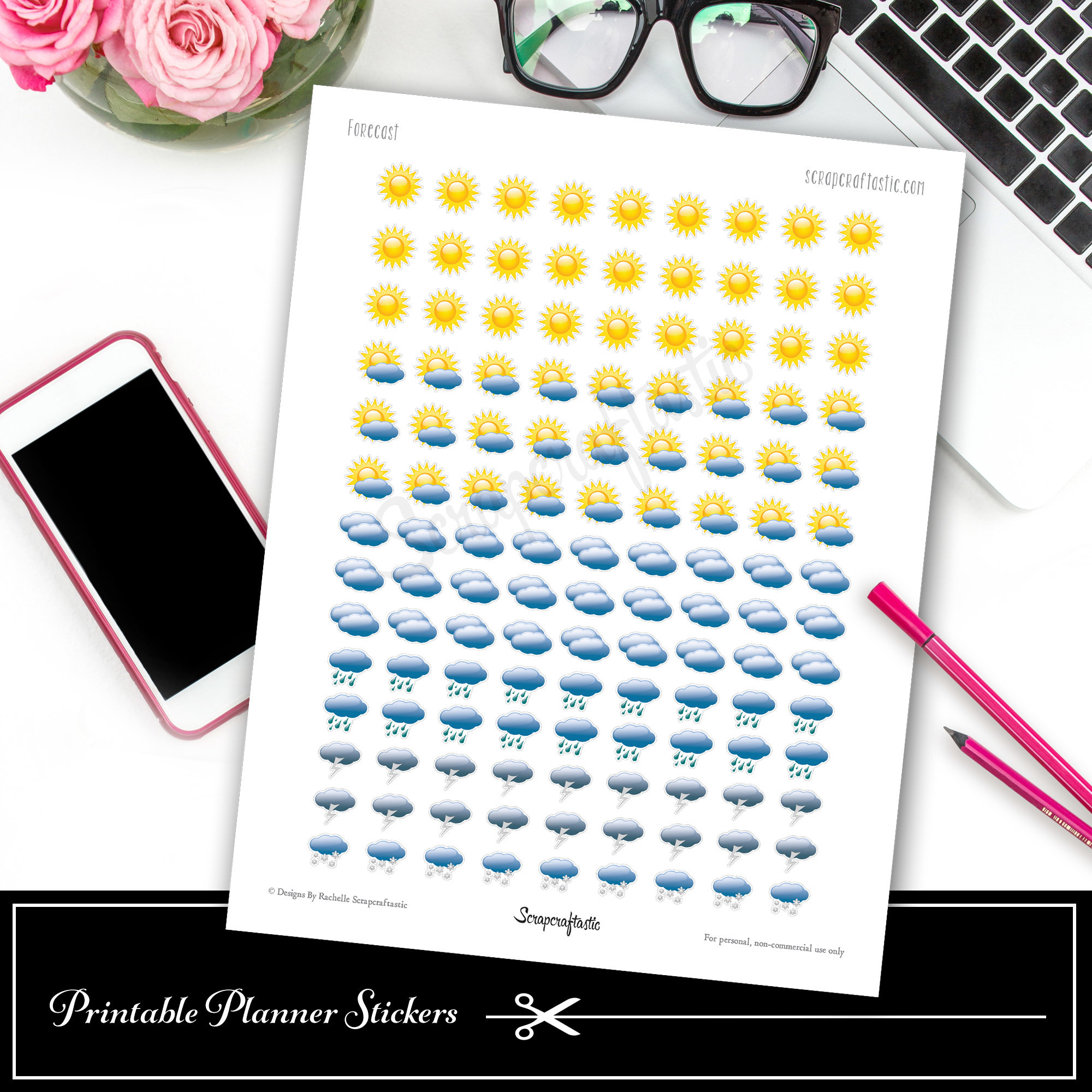 Weather Forecast Printable Planner Stickers dbr_weather1