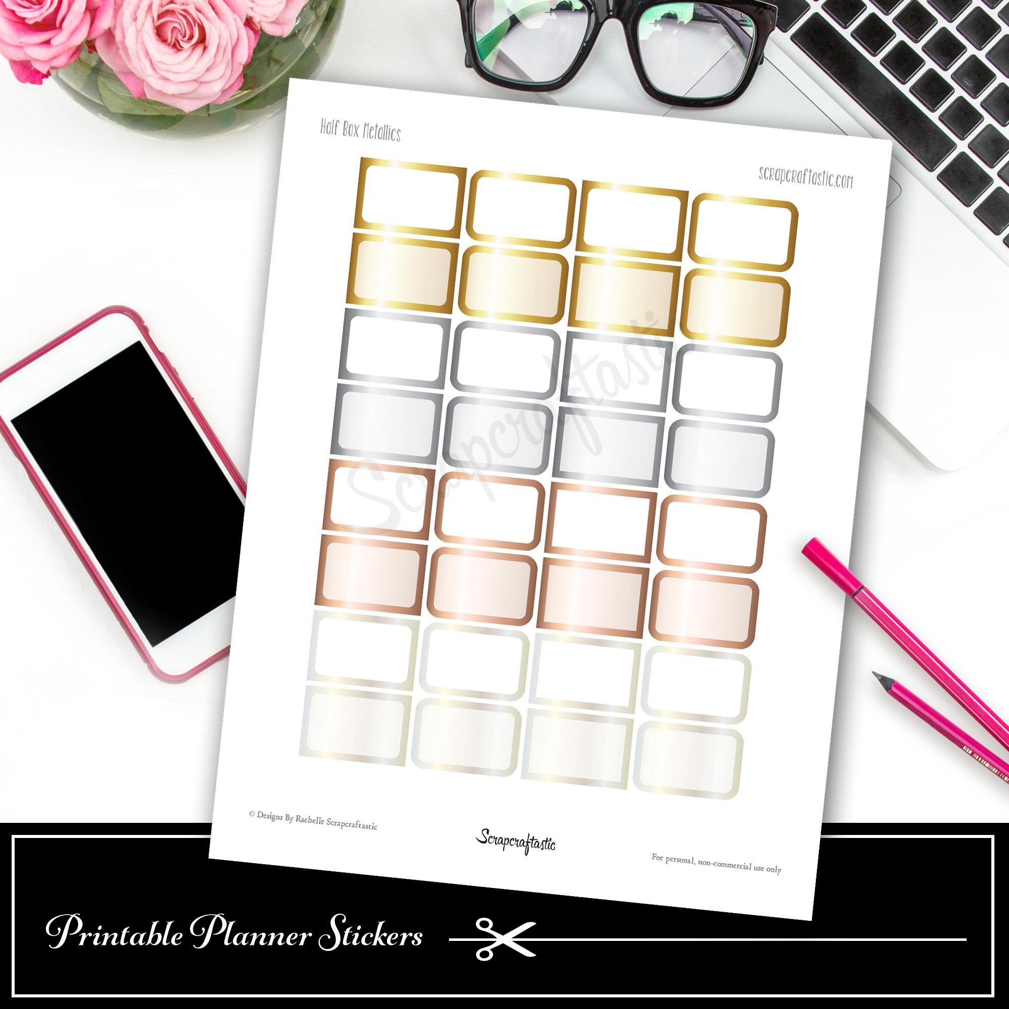 Metallics Half Boxes Printable Planner Stickers dbr_halfbox_metallics
