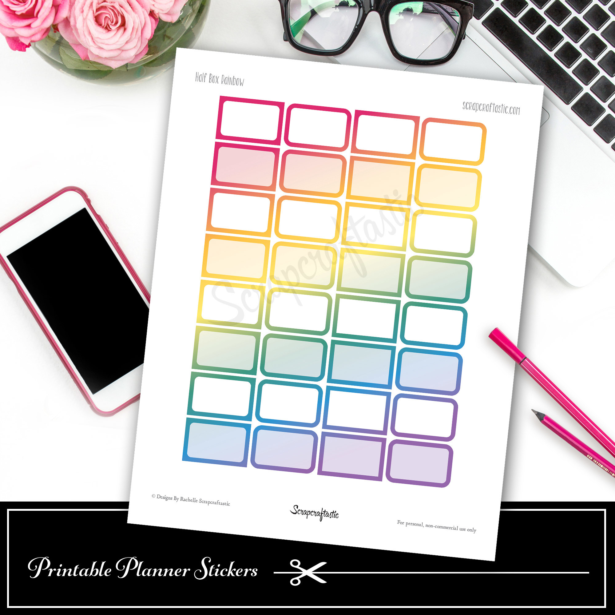 Rainbow Half Boxes Printable Planner Stickers dbr_halfbox_rainbow