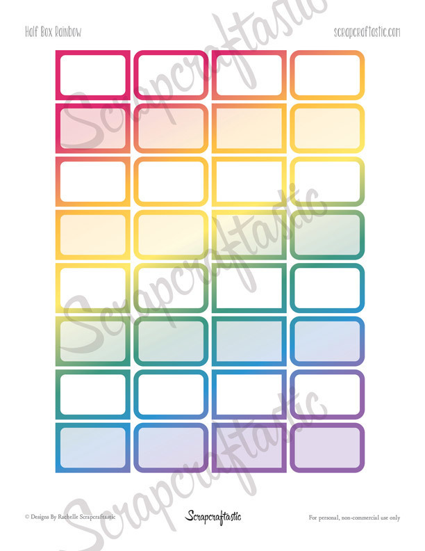 Rainbow Half Boxes Printable Planner Stickers