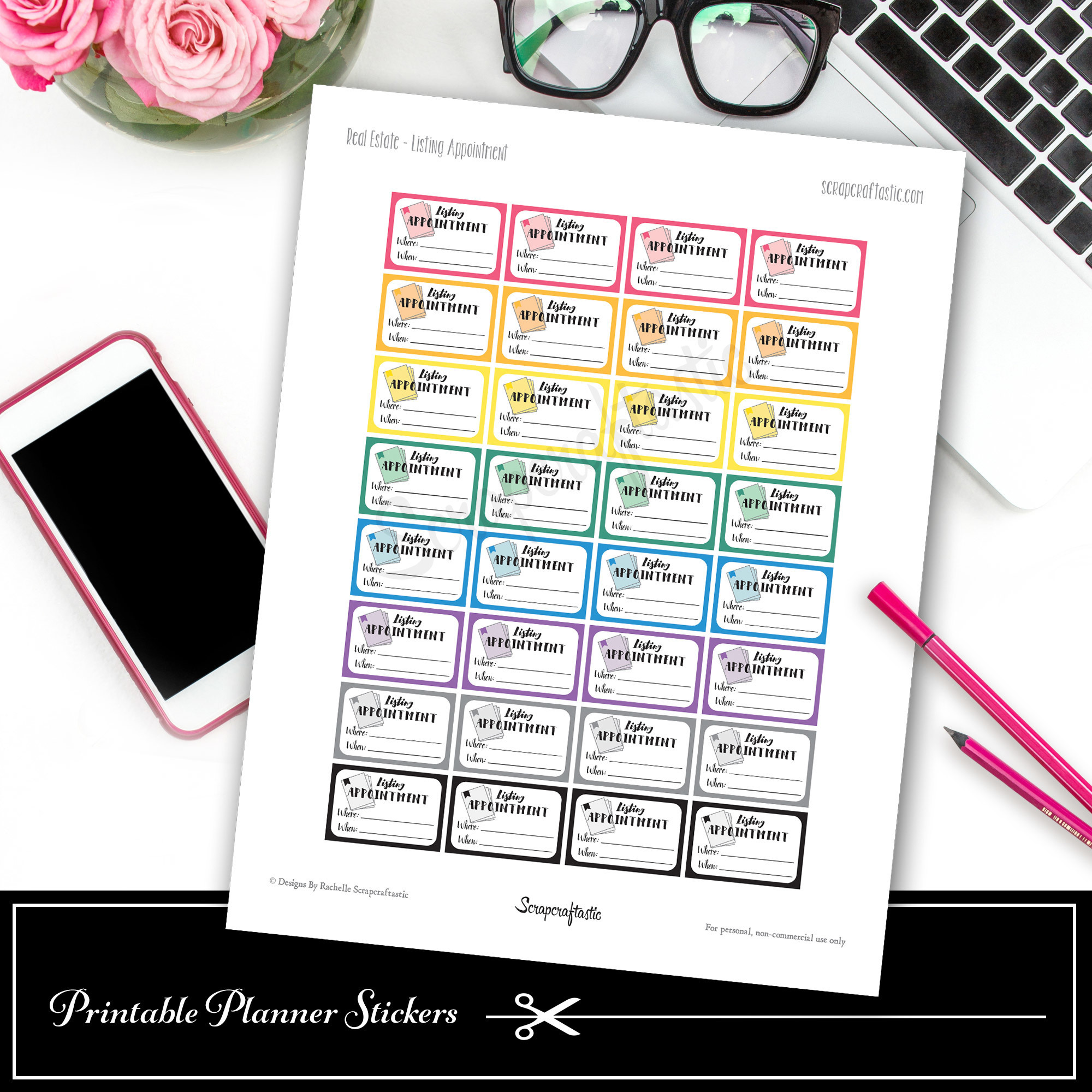 Real Estate Listing Appointment Printable Planner Stickers - Half Box 03000