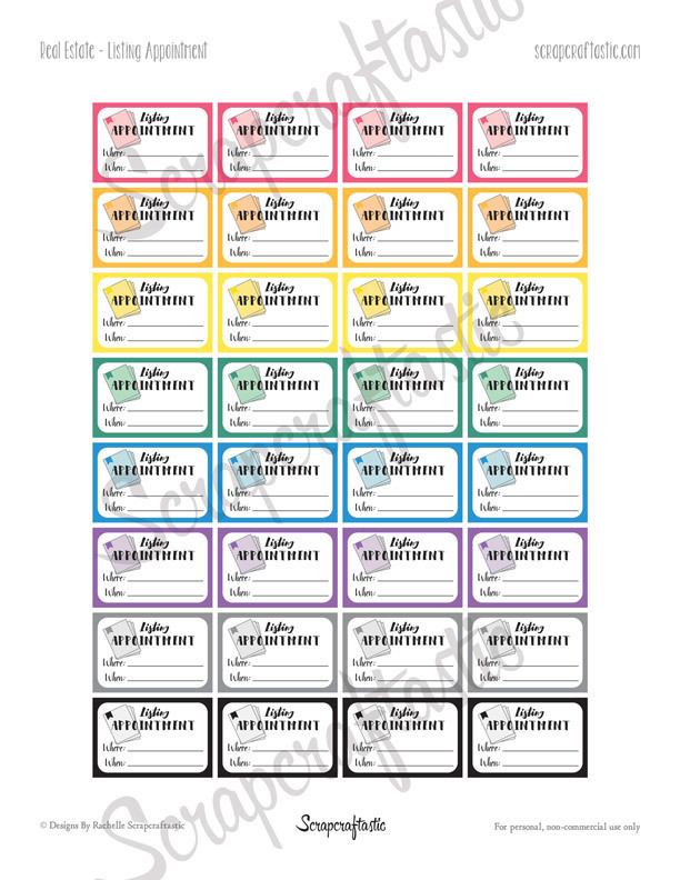 Real Estate Listing Appointment Printable Planner Stickers - Half Box