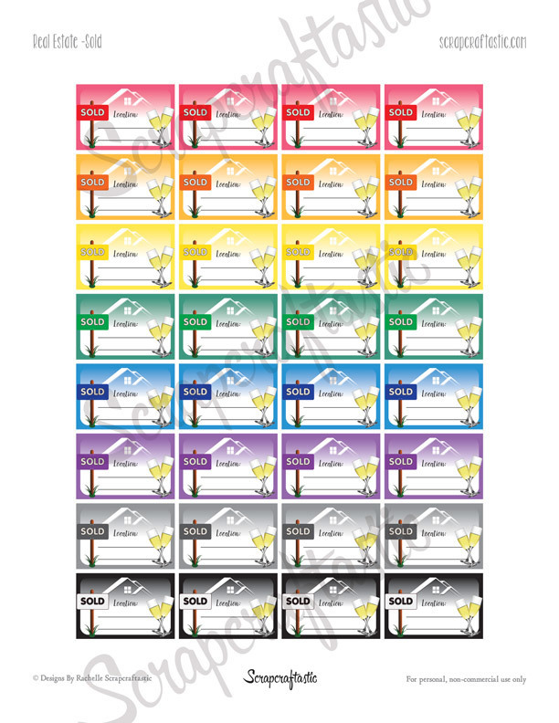 Real Estate Sold Printable Planner Stickers - Half Box