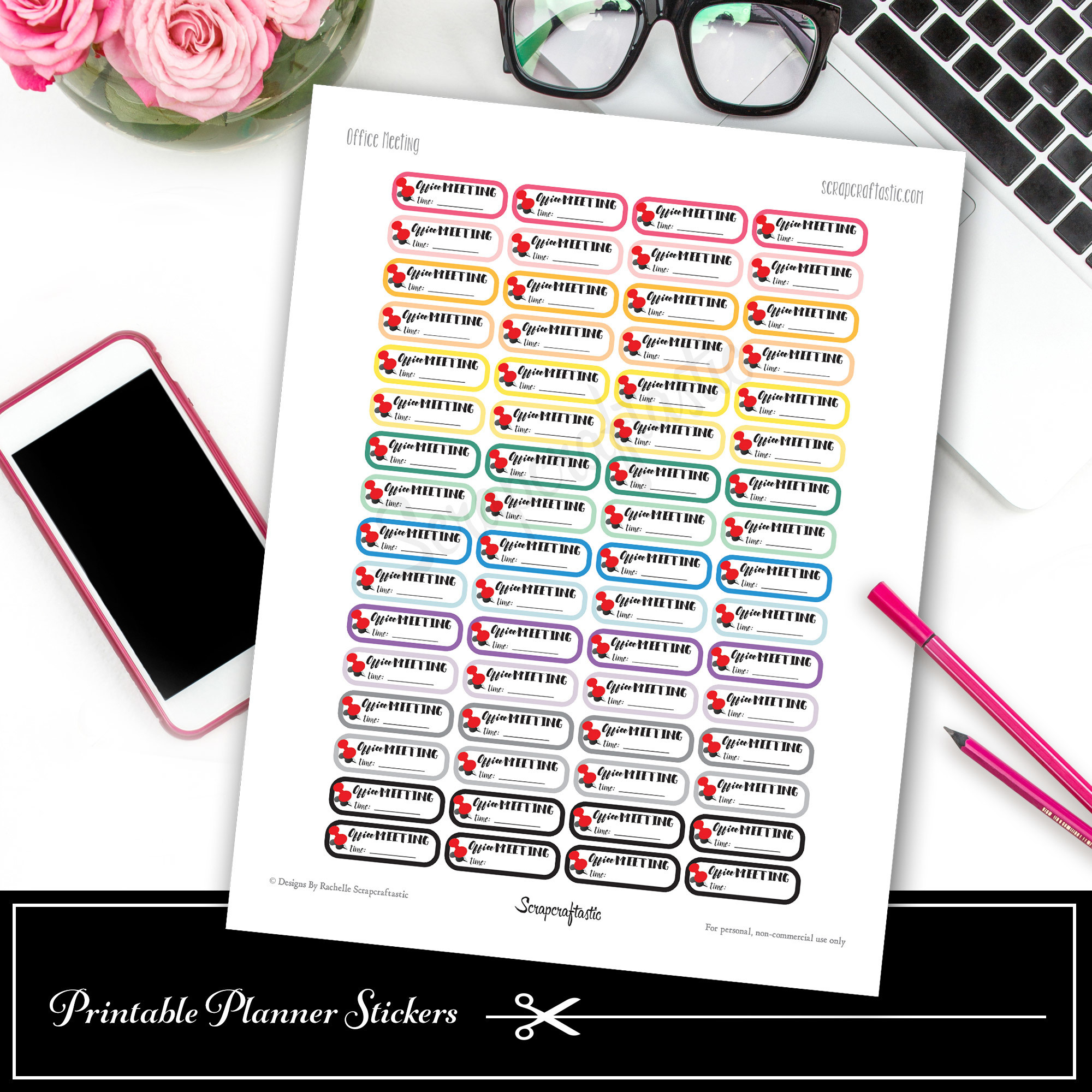 Office Meeting Printable Planner Stickers - Quarter Box 03004
