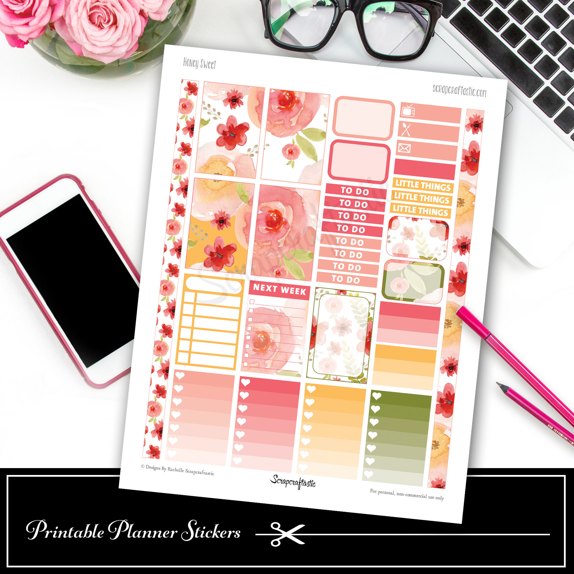 Honey Sweet Classic Happy Planner Printable Planner Stickers 0500