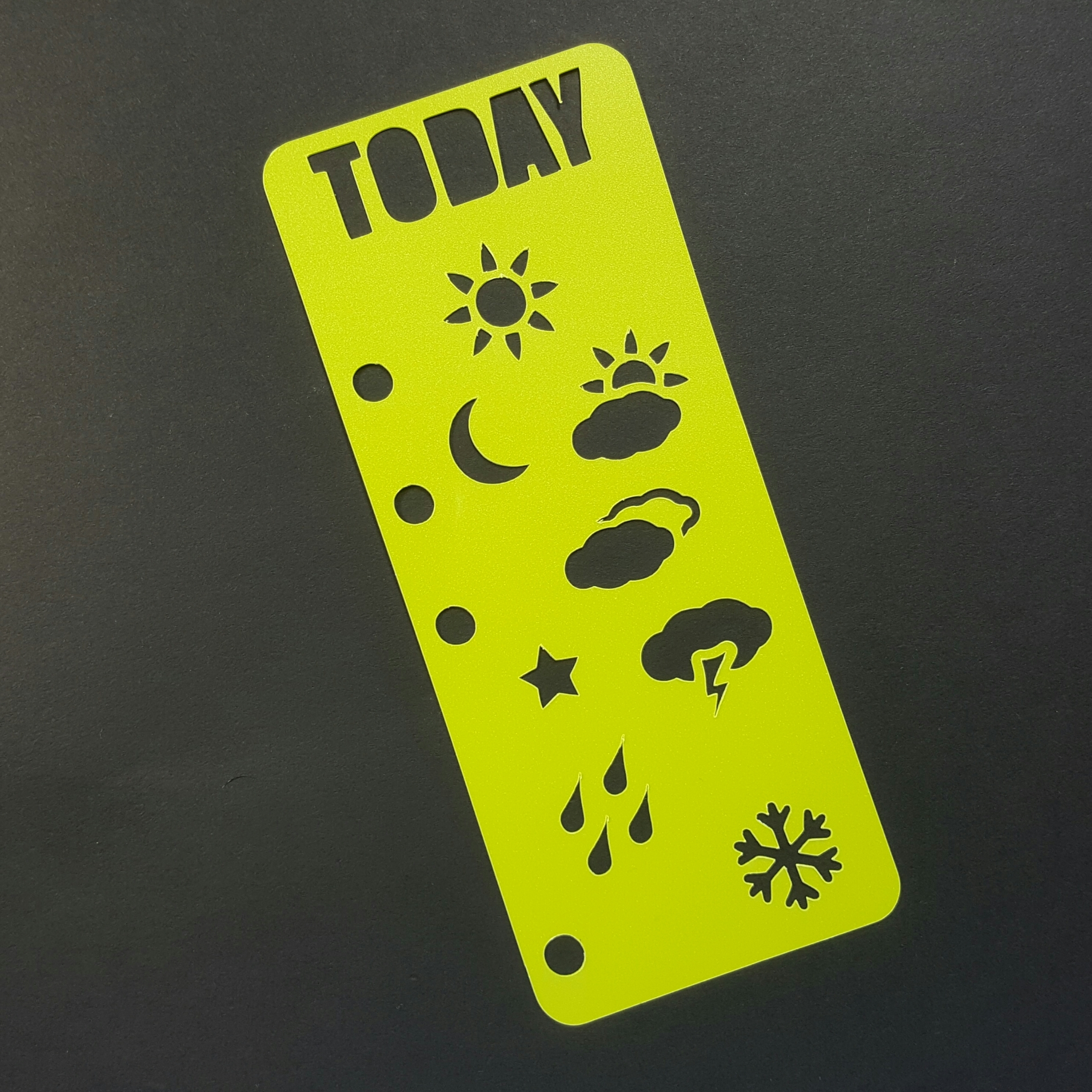 Today Weather Planner Bookmark Stencil -  Bright Green 00612