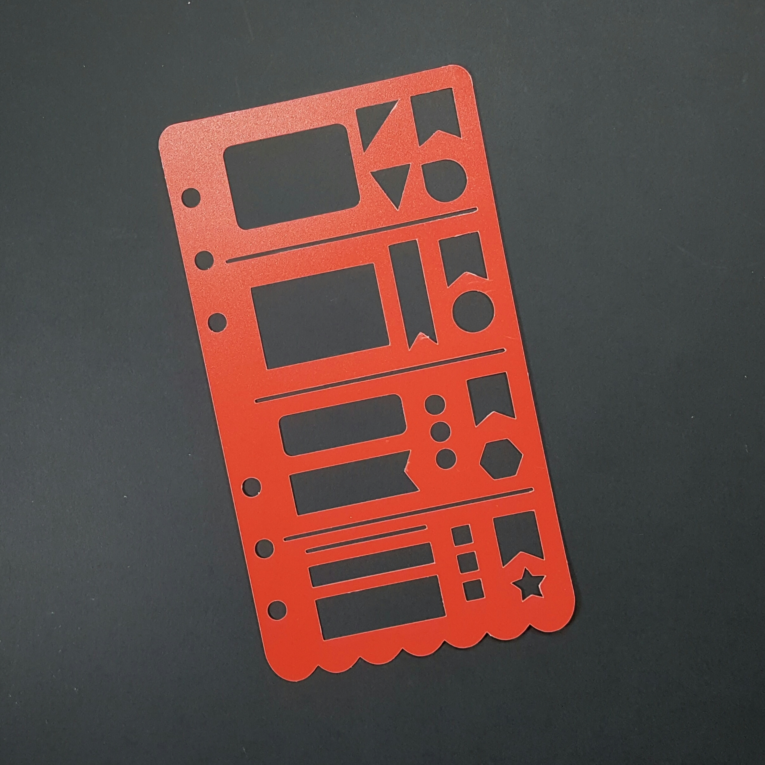 Horizontal Personal Planner Poly Stencil - Red 00616