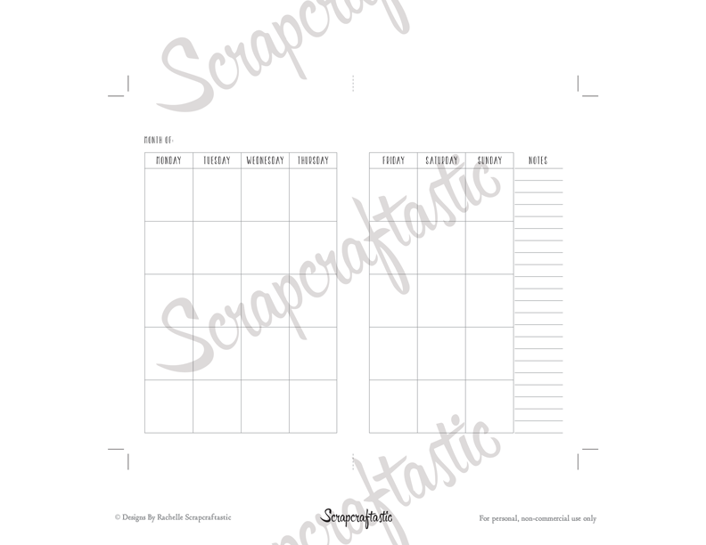 Undated Month Pocket Size Traveler's Notebook Printable Planner Inserts