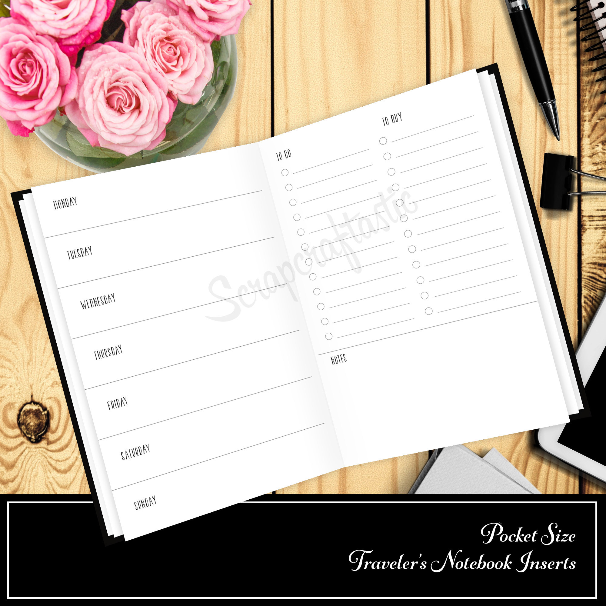 Undated Horizontal Week On One Page with List Pocket Size Traveler's Notebook Printable Planner Inserts 10010