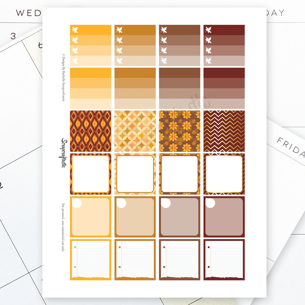 Fall Monthly Layout Printable Planner Stickers for the MAMBI Happy Planner 00030