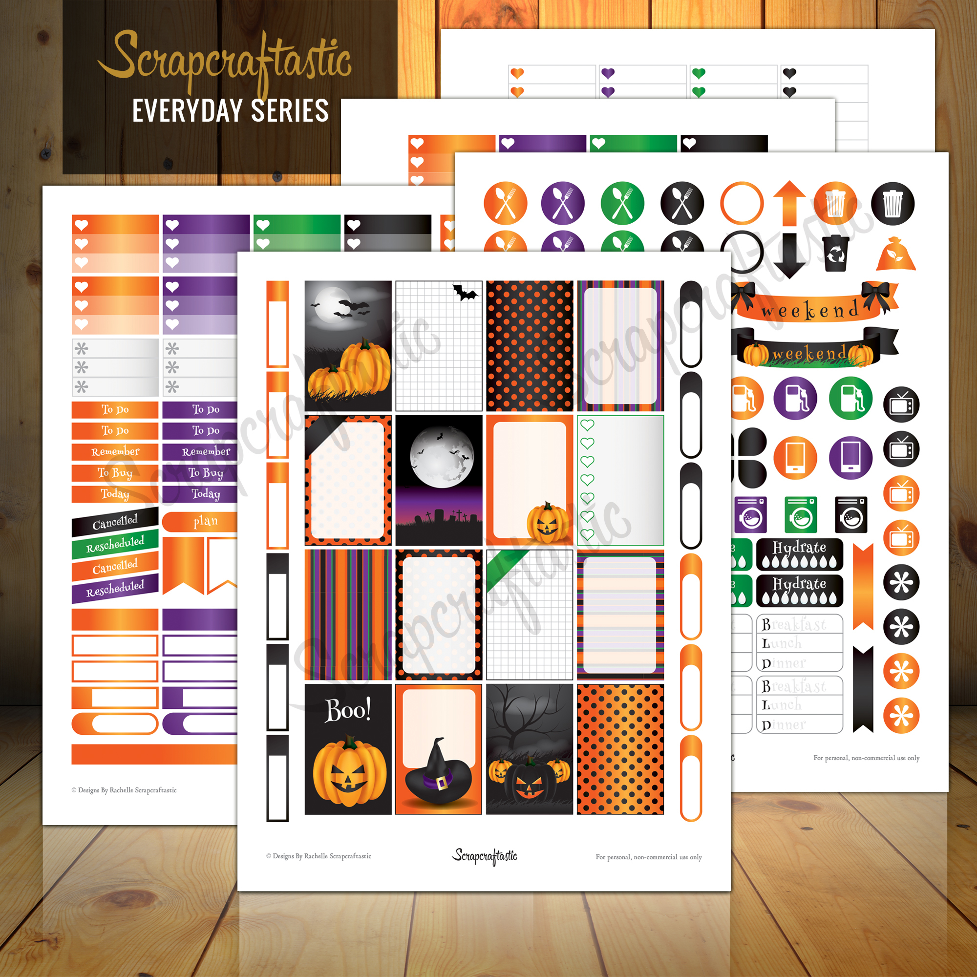 Halloween Everyday Series Printable Planner Stickers for the Classic MAMBI Happy Planner 01015
