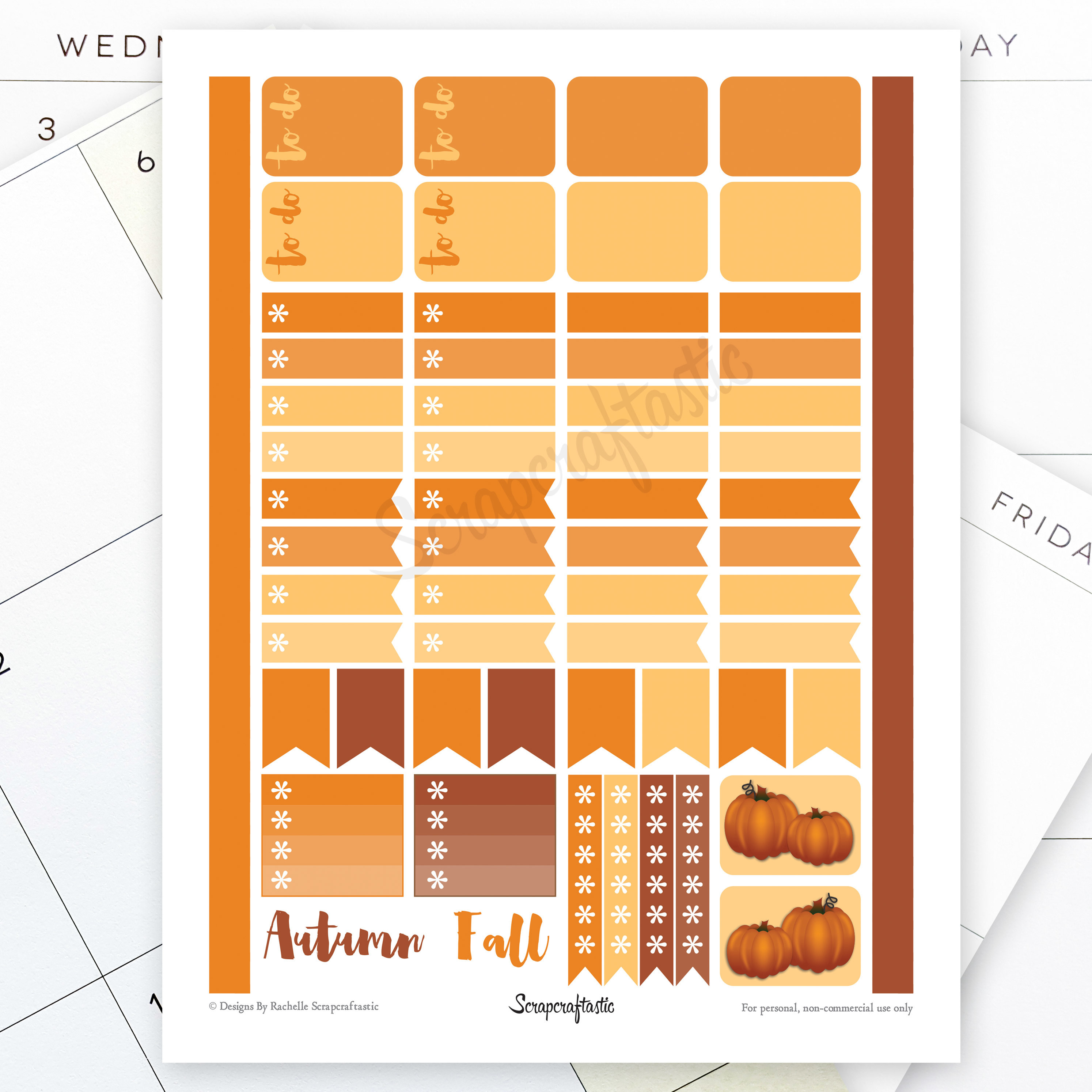 All Pumpkin Spice Printable Planner Stickers 04015
