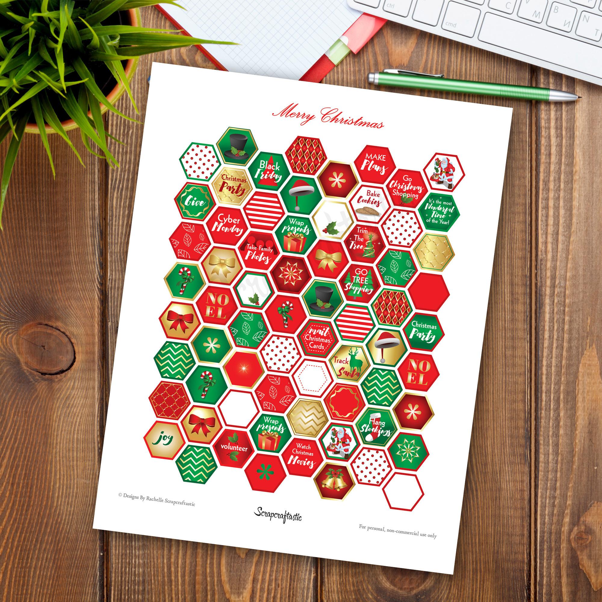 Christmas Traditions Hexagon Printable Planner Stickers for Happy Planner, Erin Condren, Filofax, Carpe Diem, Kikki-K 01013