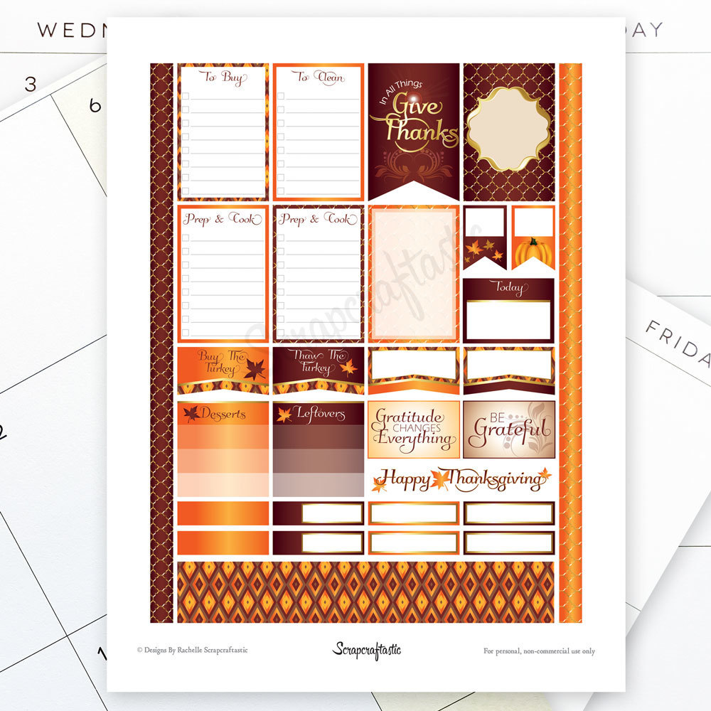 Thanksgiving Planning Printable Planner Stickers for the Classic Mambi Happy Planner 01019