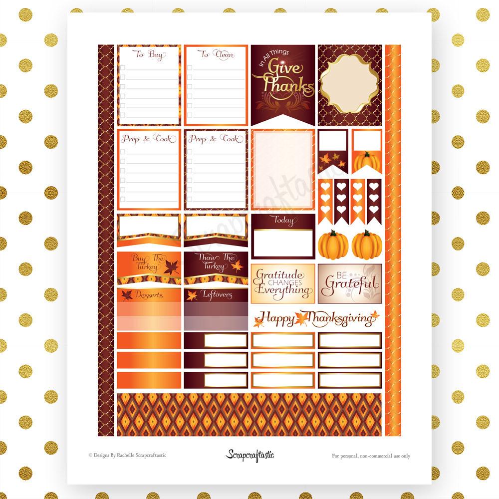 Thanksgiving Planning Printable Planner Stickers for (EC) Erin Condren Life Planner 01018
