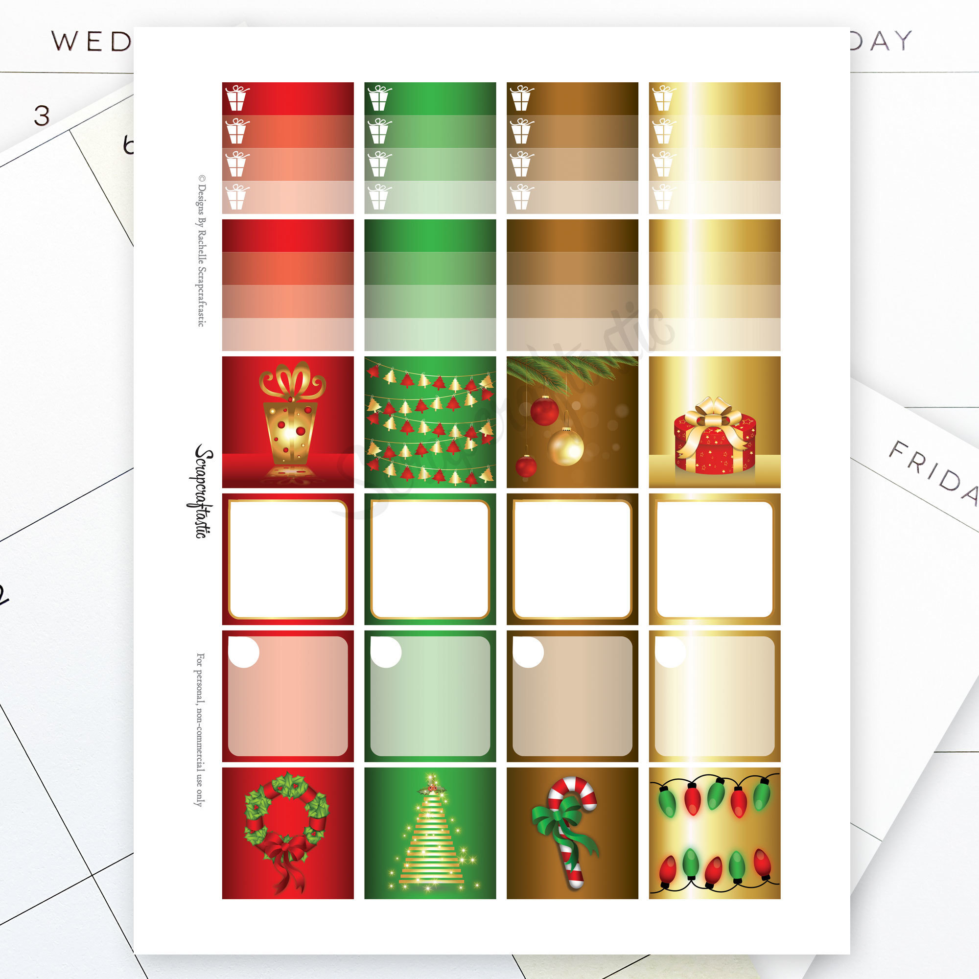 Festive Christmas Monthly Layout Printable Planner Stickers for the Classic MAMBI Happy Planner 01014