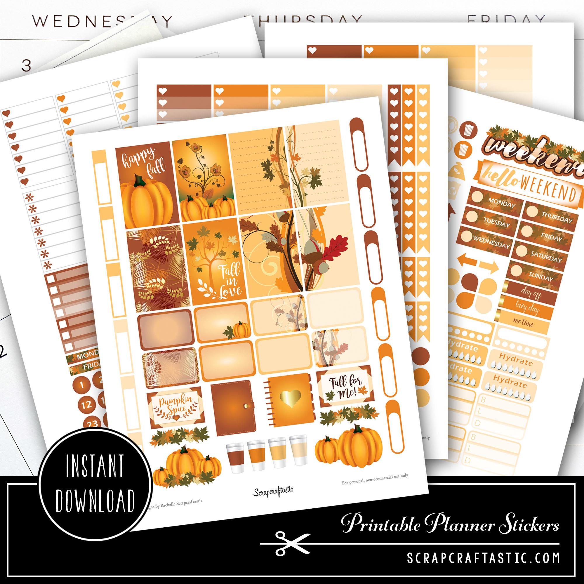 Pumpkin Spice Printable Planner Stickers 01001