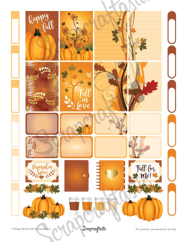 Pumpkin Spice Printable Planner Stickers