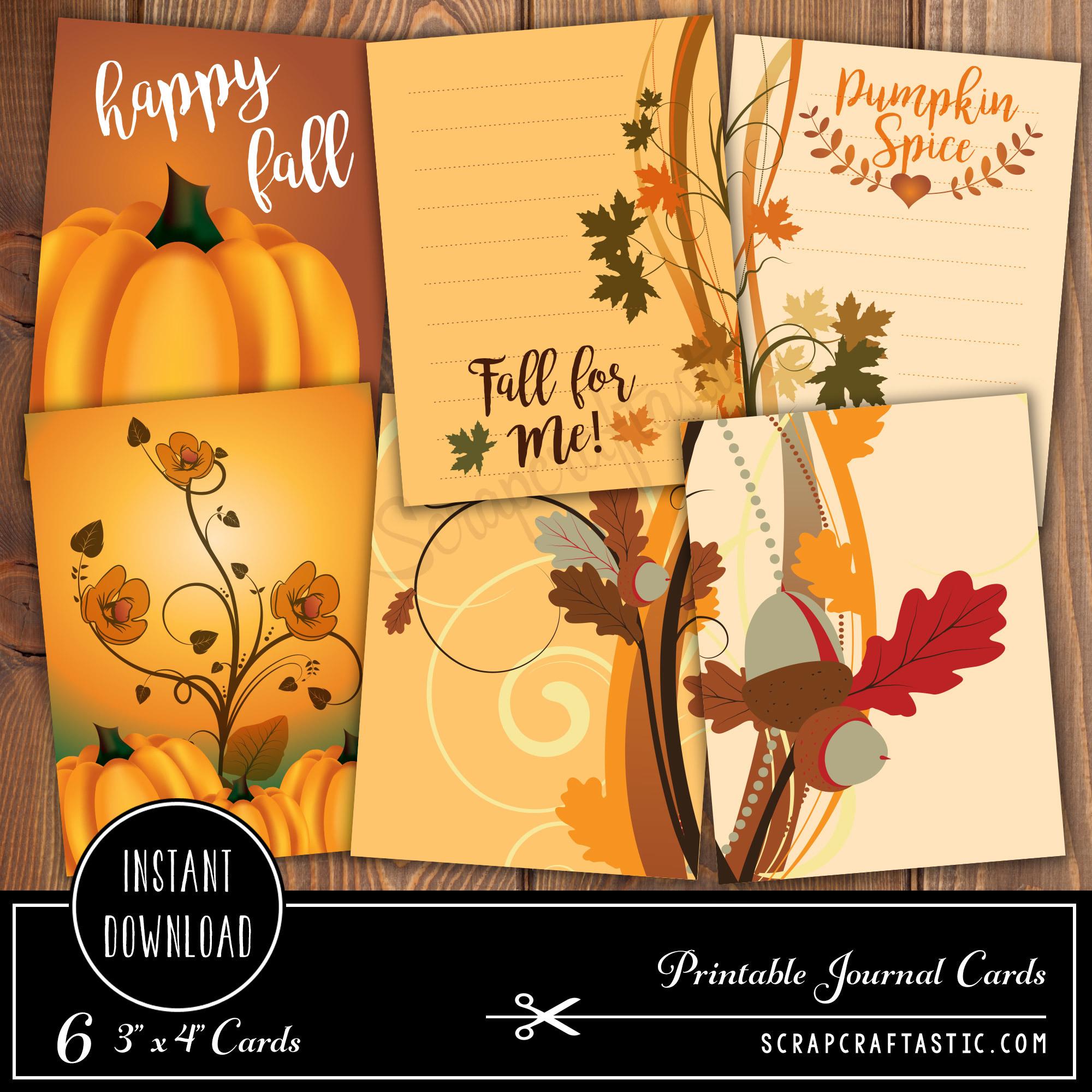 Pumpkin Spice 3x4 Journal Card Digital Collage Print Sheet 05001