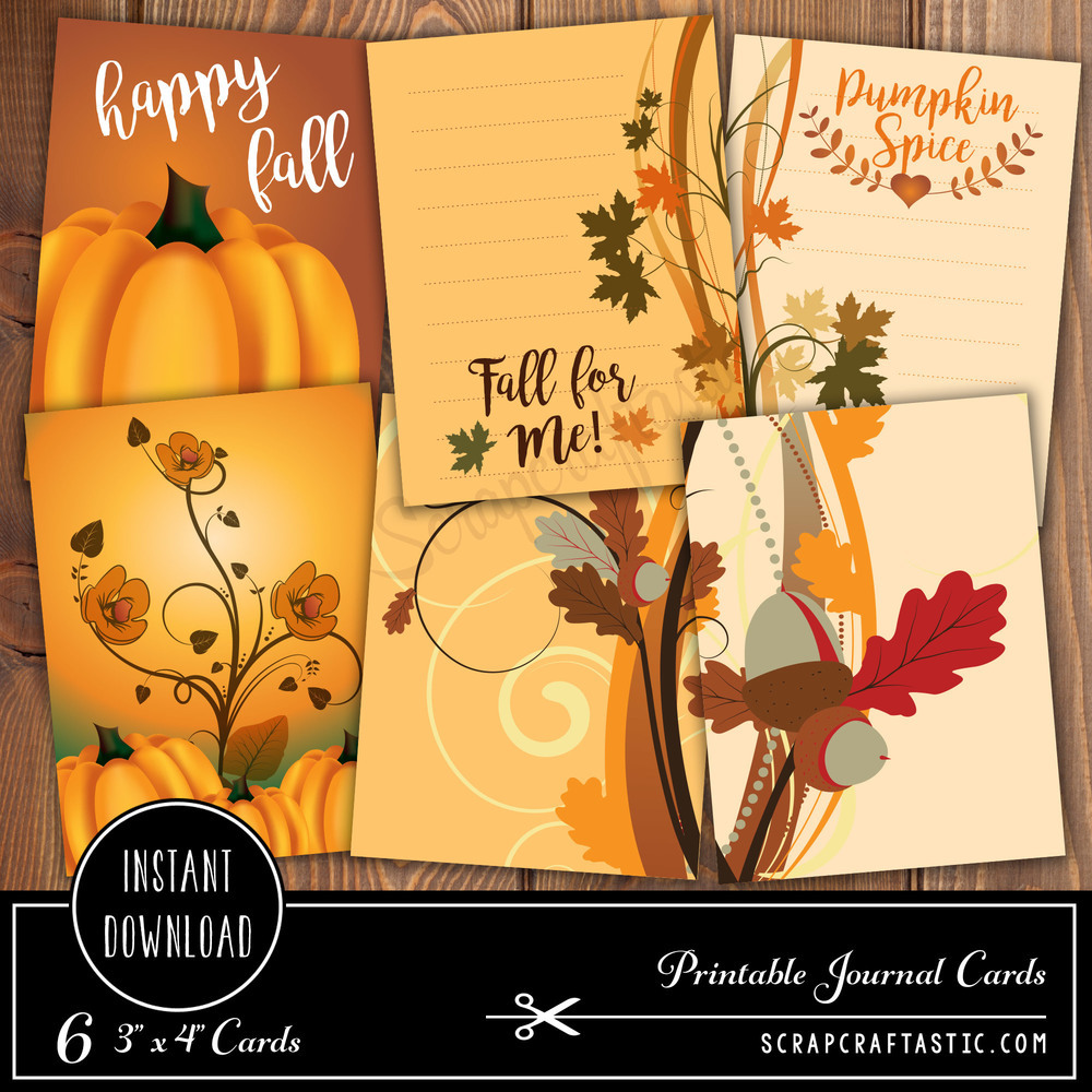 Pumpkin Spice 3x4 Journal Card Digital Collage Print Sheet