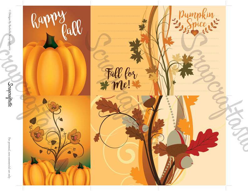 Pumpkin Spice 3x4 Journal Card Digital Collage Print Sheet