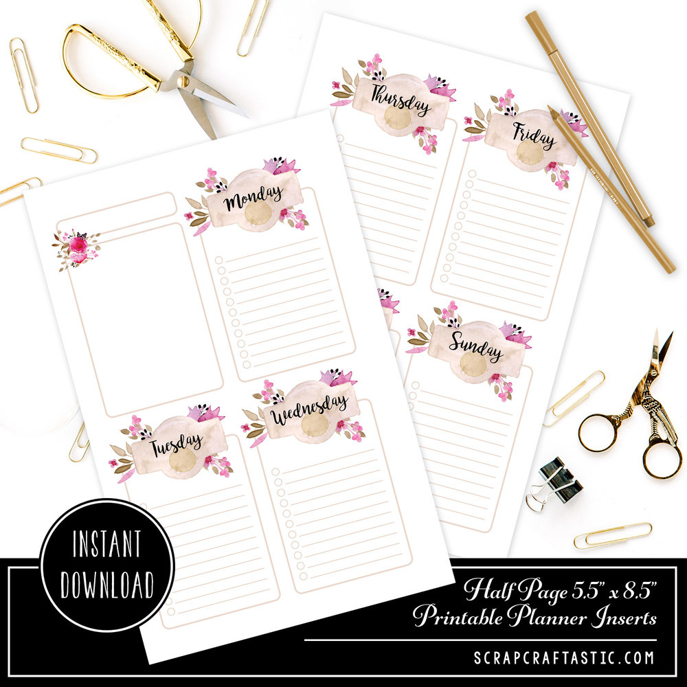 Rose Cream Undated Week on Two Page (WO2P) Half Page Designed Printable Planner Inserts 00300