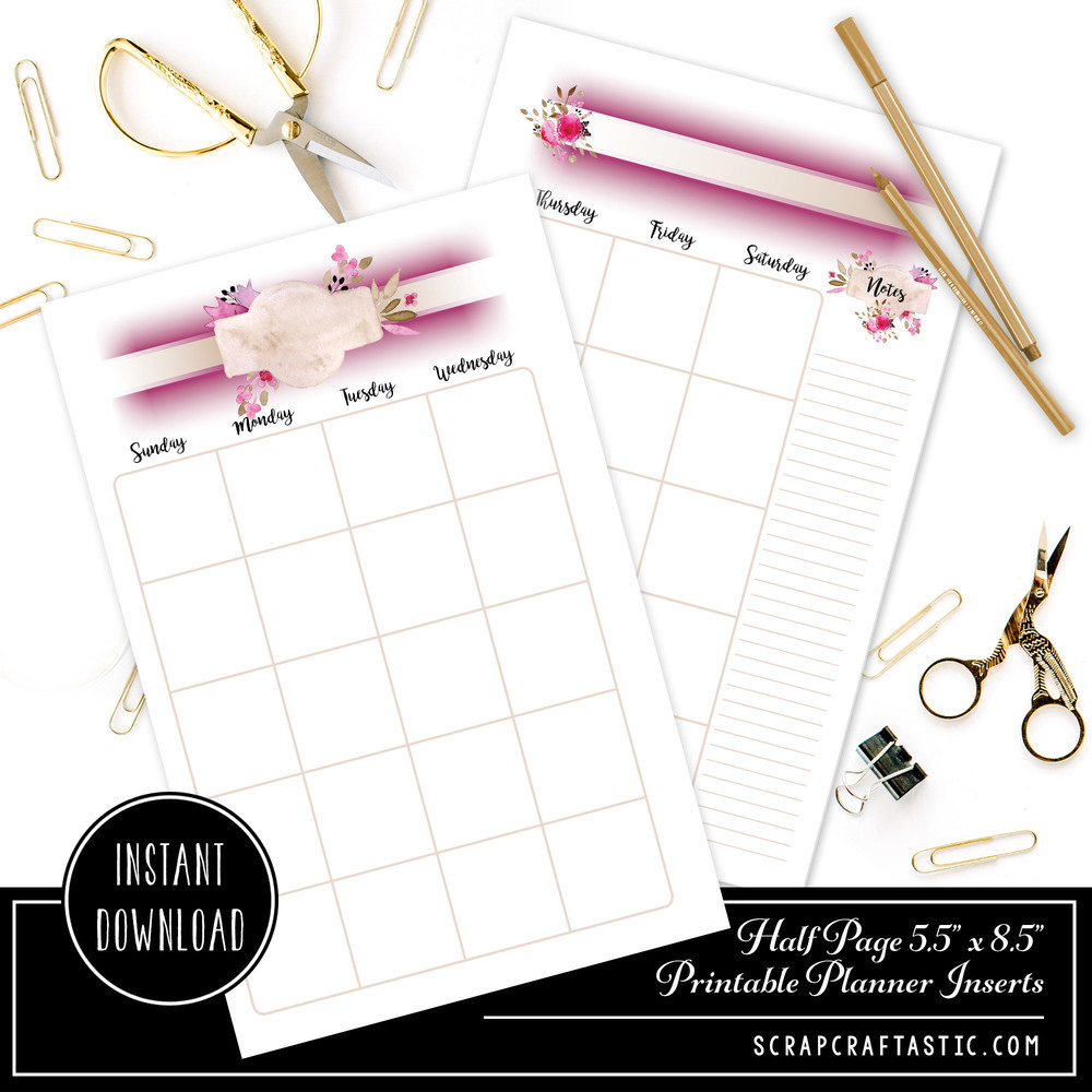Rose Cream Undated Month on Two Page (MO2P) Half Page Designed Printable Planner Inserts 00301