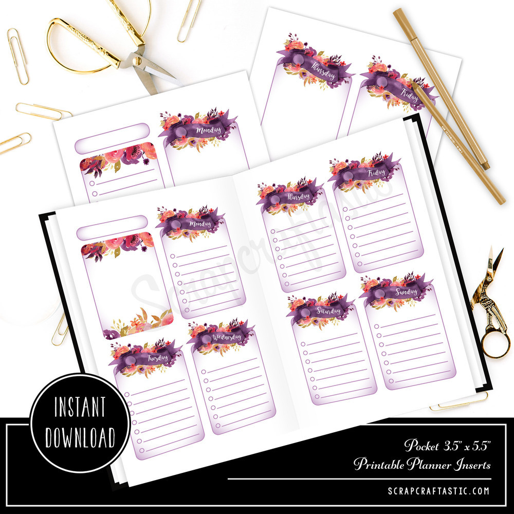 Royalty Undated Week on Two Page (WO2P) and Lined Notes POCKET SIZE Designed Printable Travelers Notebook and Planner Inserts 00304