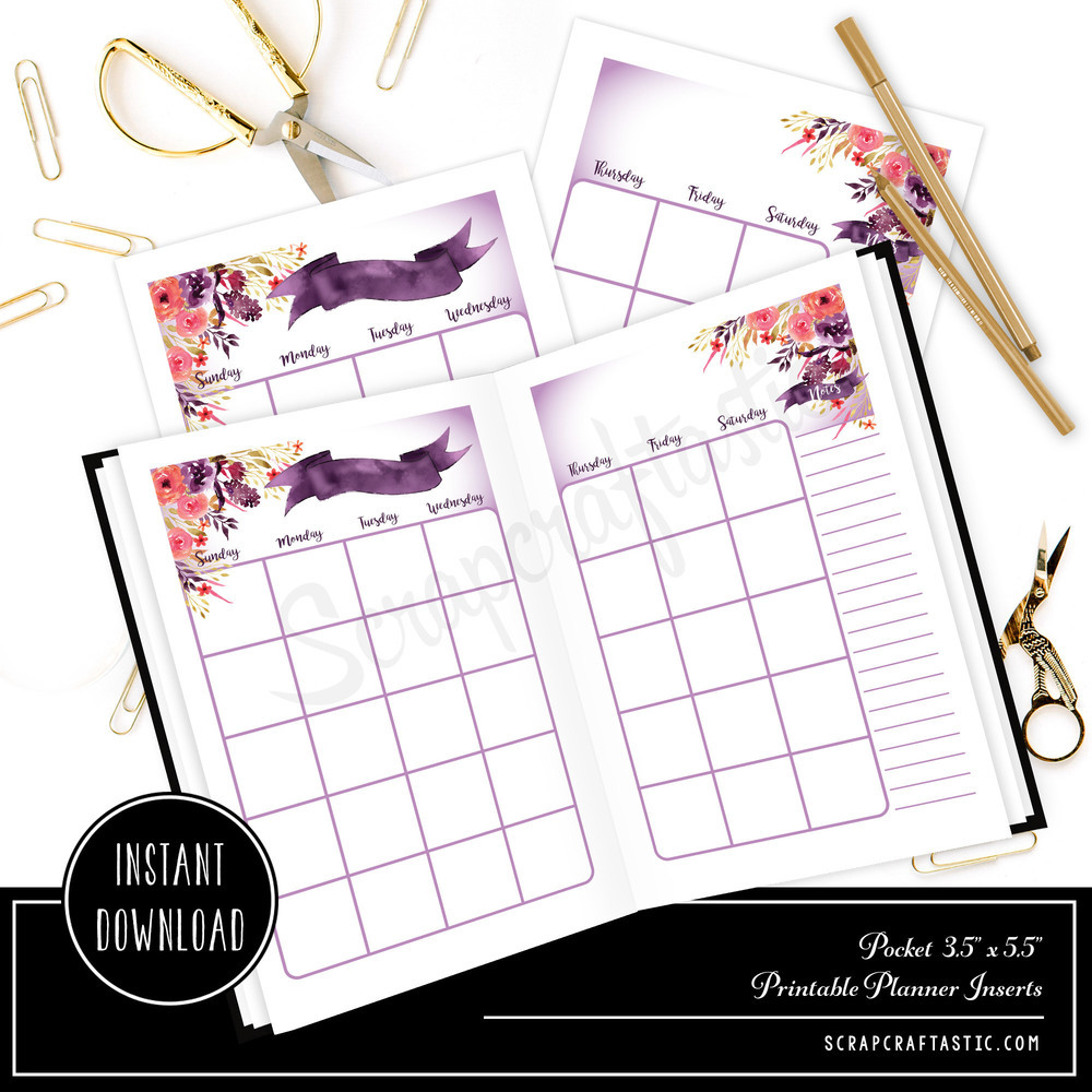Royalty Undated Month on Two Page (MO2P) POCKET SIZE Designed Traveler's Notebook Printable Planner Inserts/Refill 00305