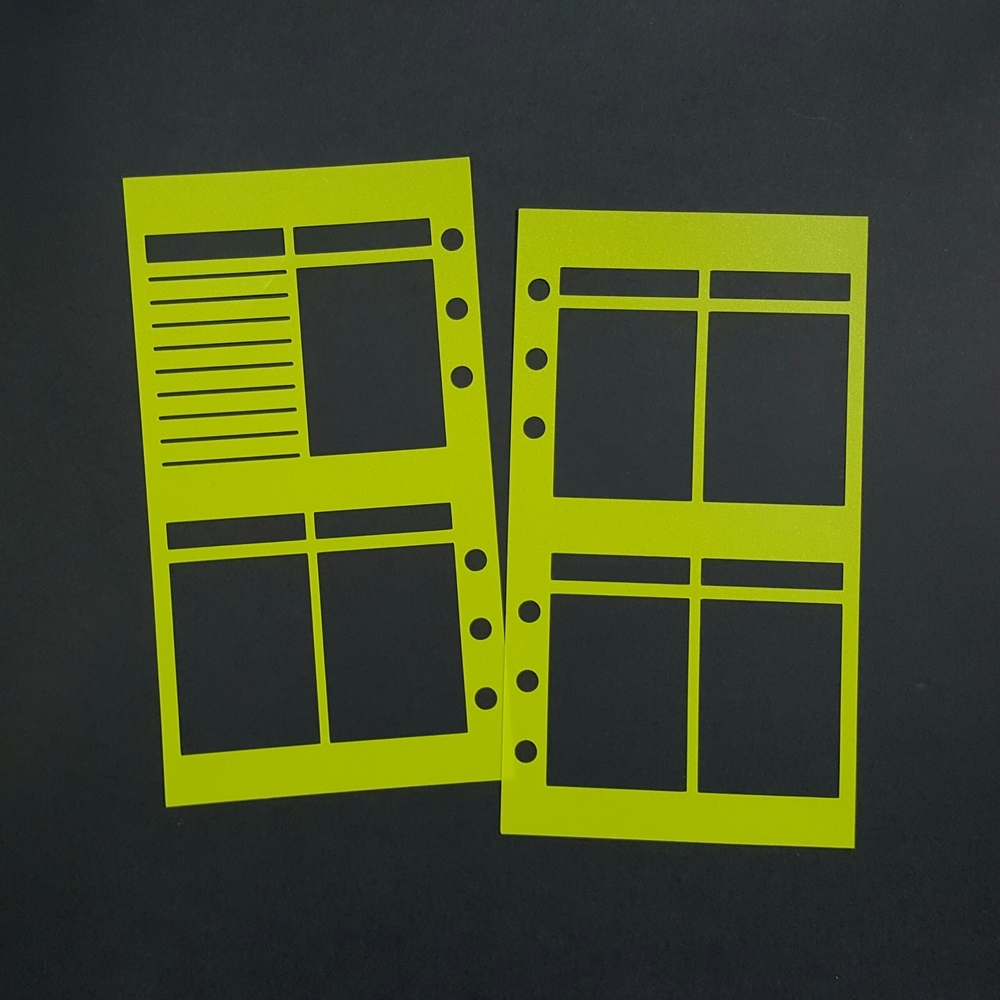 WO2P with Header Personal Size Planner Poly Stencil - Bright Green/Yellow 00632