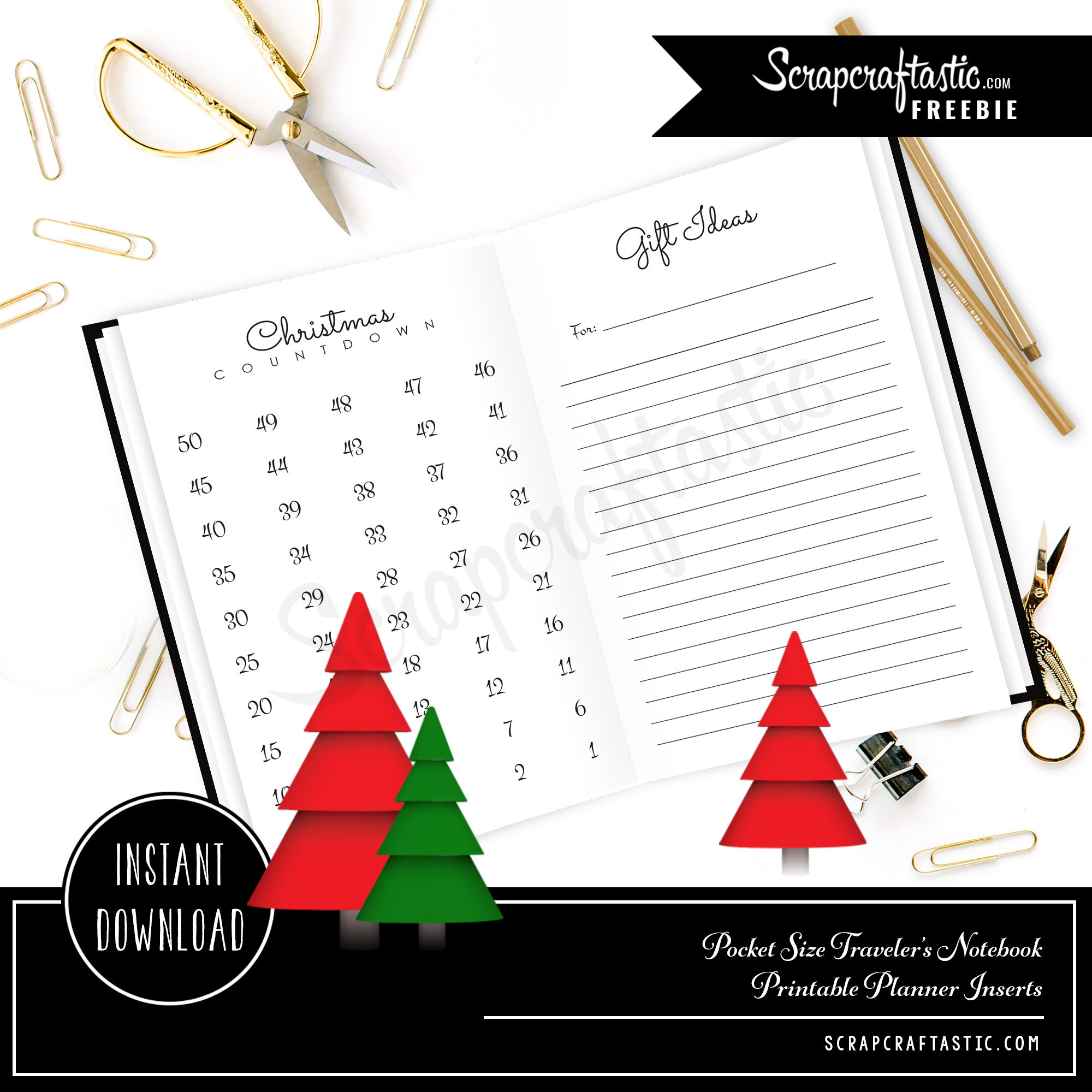 Christmas Countdown and Gift Ideas Pocket Size Traveler's Notebook Inserts 06002