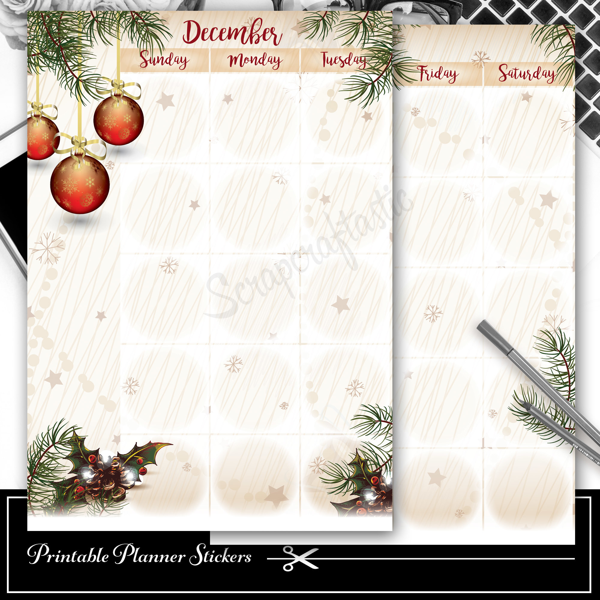 December Monthly Planner Spread Printable Planner Sticker Overlay for classic size Mambi Happy Planner 01002